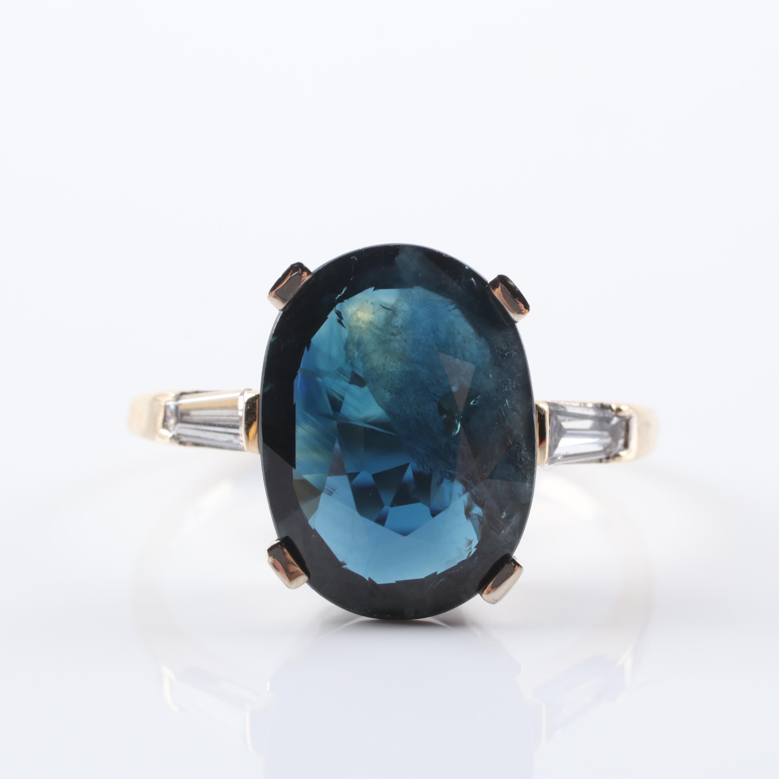 14K Yellow Gold 6.75 CT Sapphire and Diamond Ring