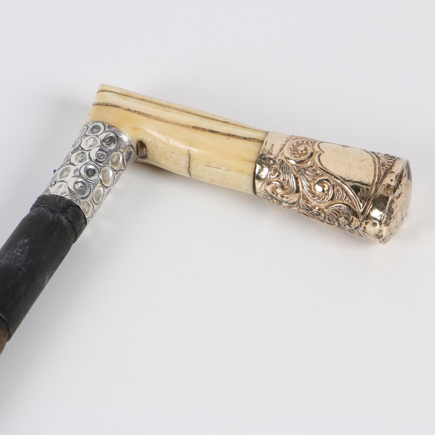 Sterling, Bone, and Gold-Plated L-Handle Faux Bamboo Cane