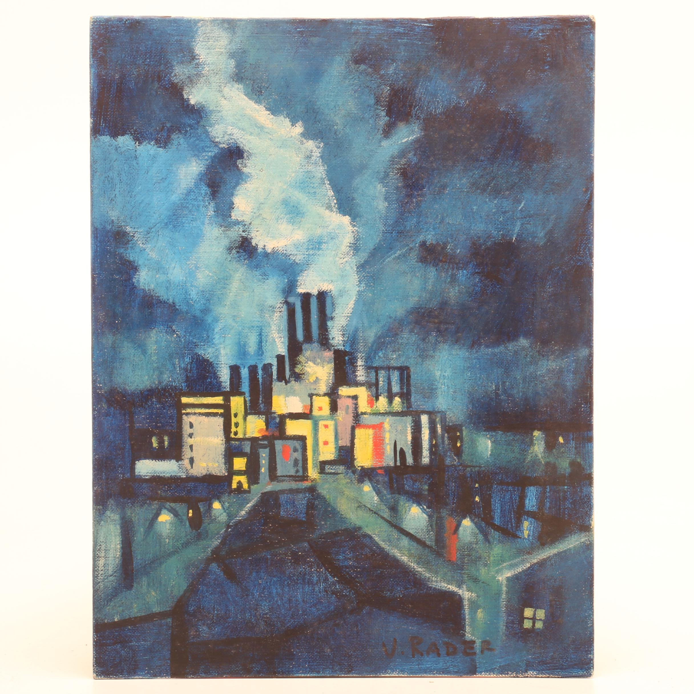 V. Rader Surrealist Style Citiscape Oil Painting