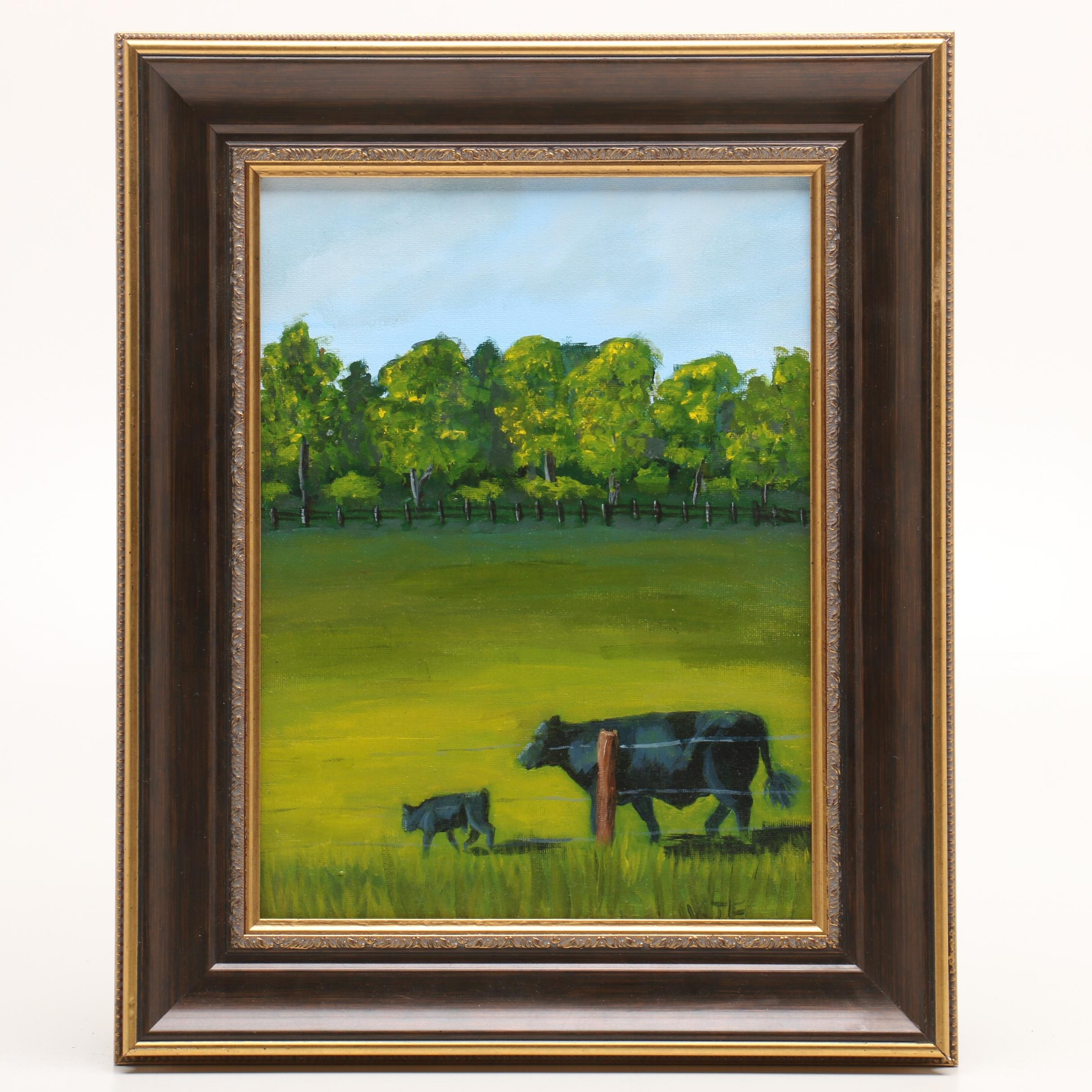 "Landscape Oil Painting ""My Old Kentucky Farm"""