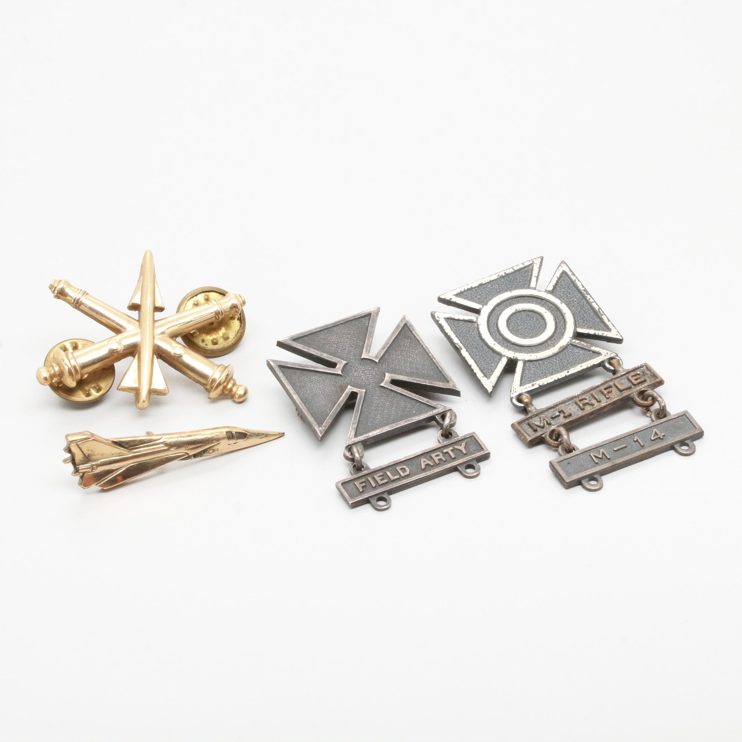 Sterling Silver Army Marksman and Field Artillery Badges with Gold-Toned Pins