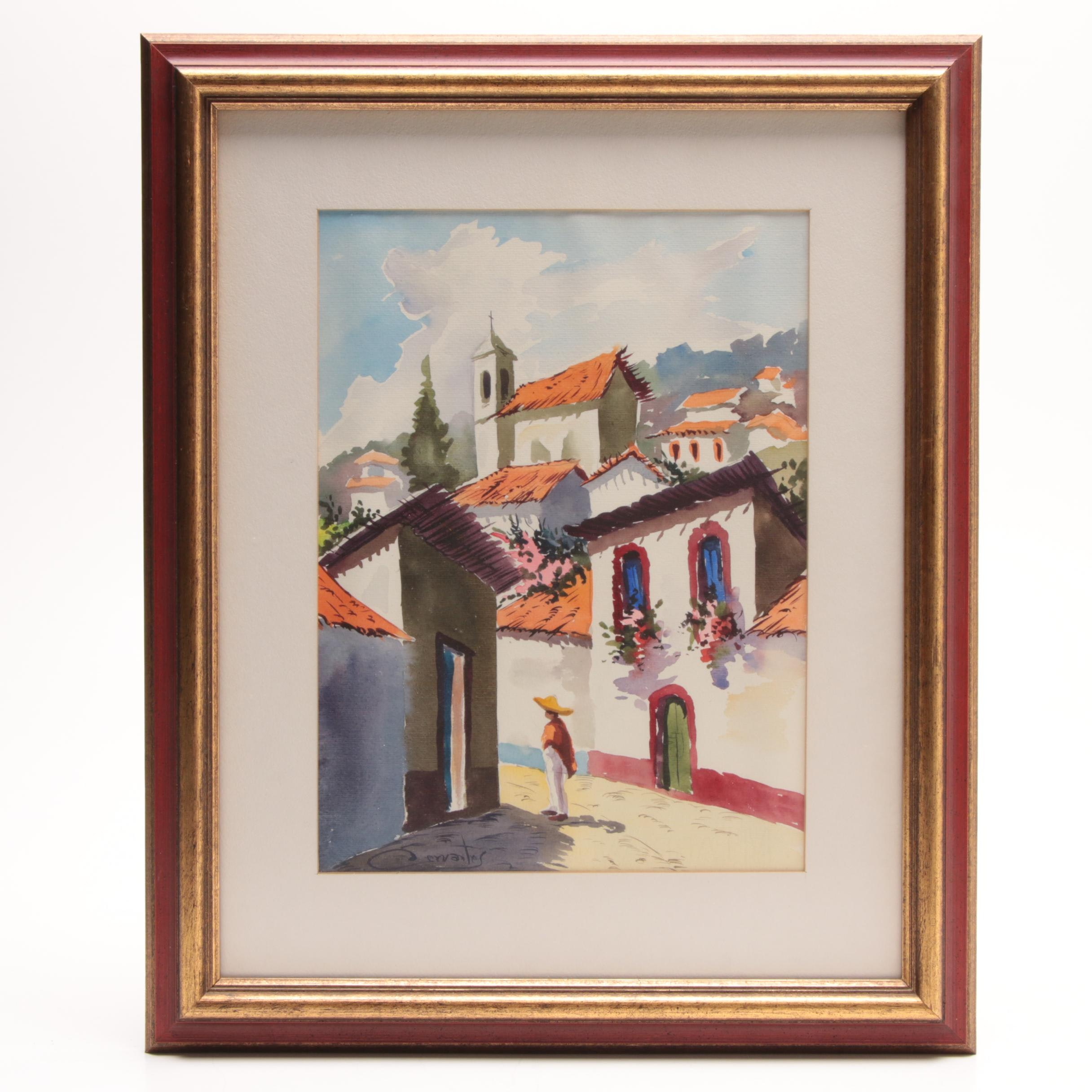 Cervantes Watercolor Painting of South American Townscape