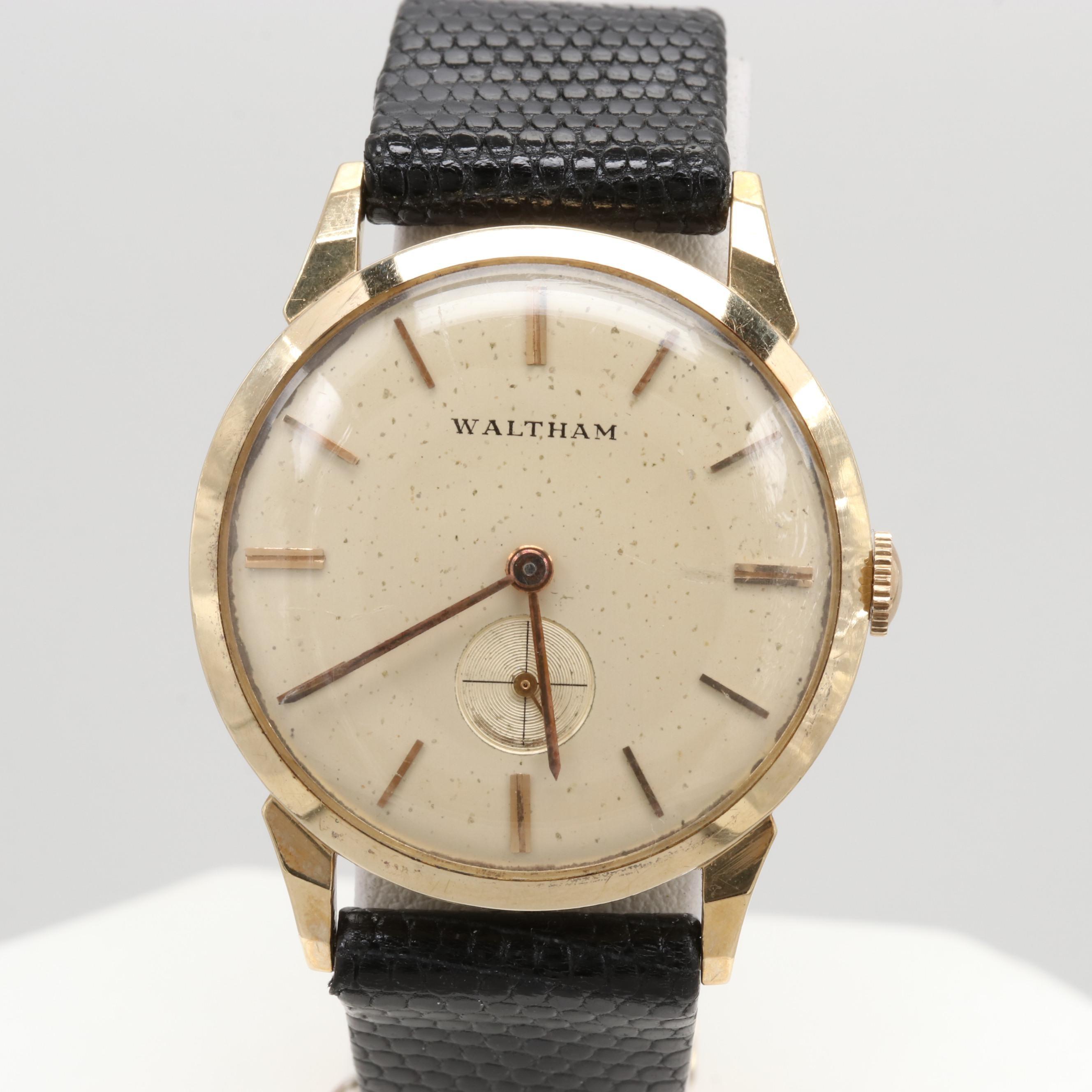 Vintage Waltham 14K Yellow Gold Stem Wind Wristwatch
