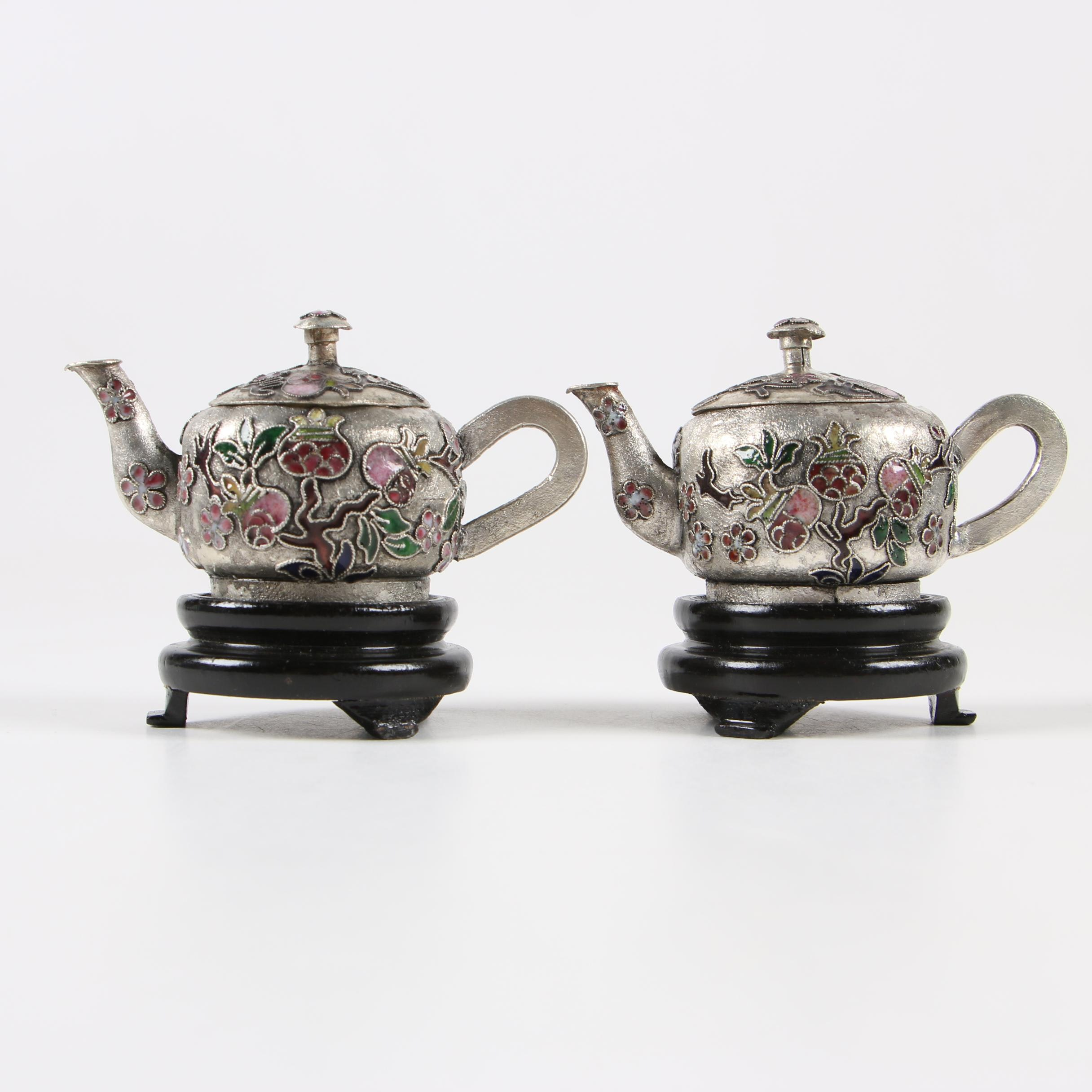 Pair of Chinese Chinoiserie Miniature Teapots on Stands