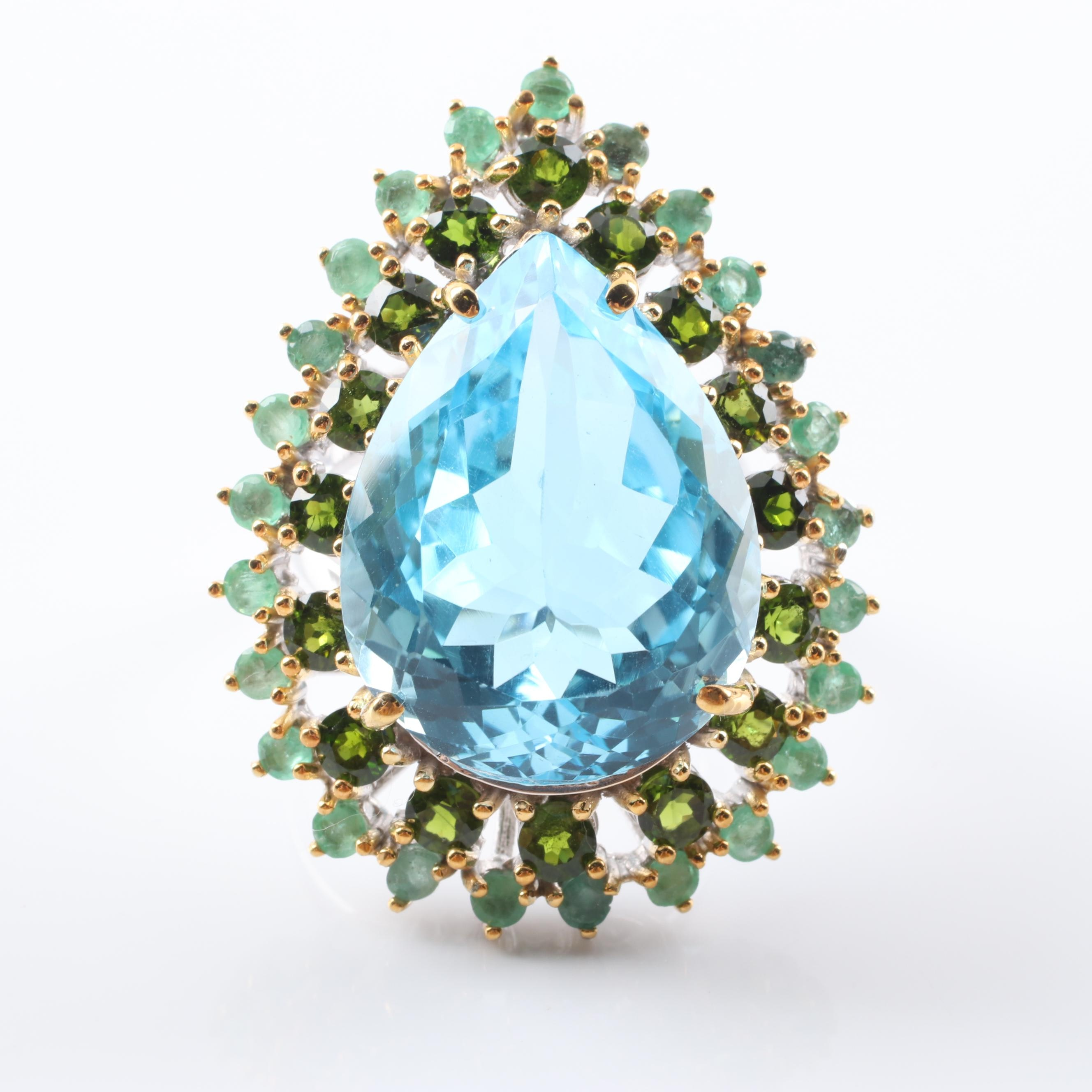 Sterling Silver 31.06 CT Blue Topaz, Emerald and Diopside Halo Ring