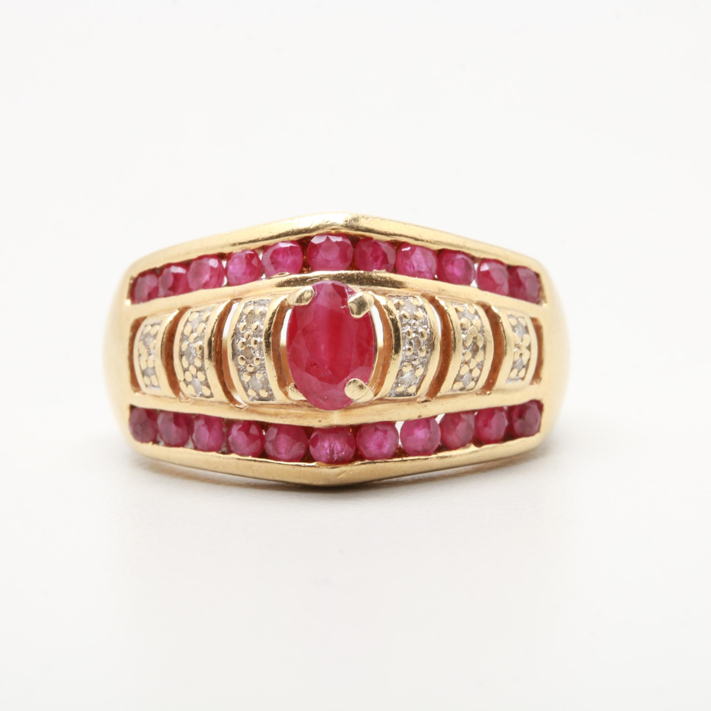 10K Yellow Gold Ruby and Diamond Ring