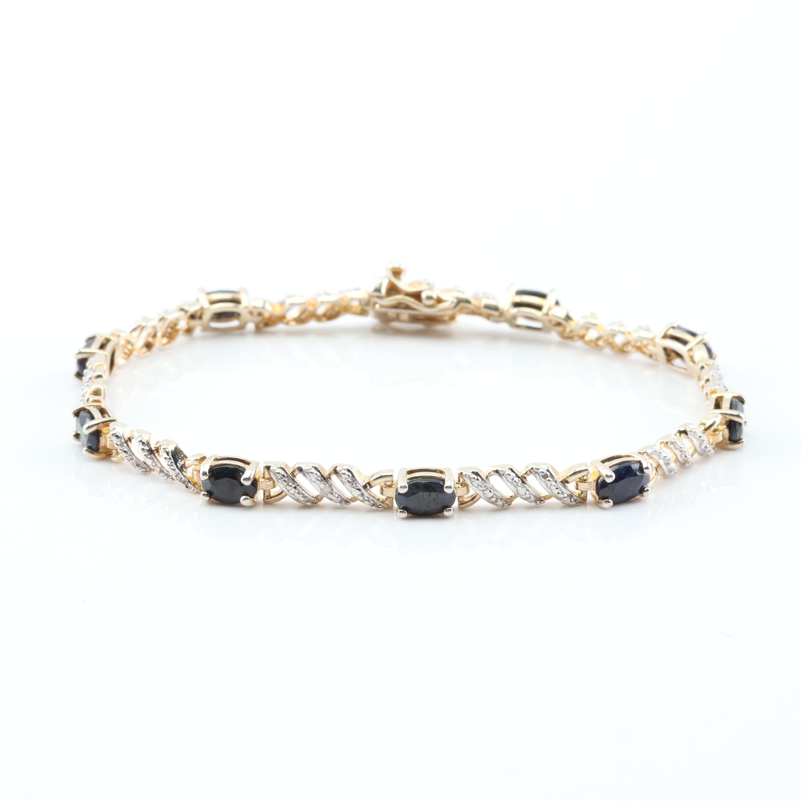 Sterling Silver Sapphire and Diamond Bracelet with Yellow Gold Wash