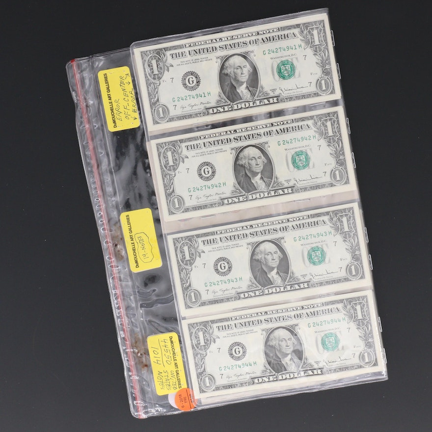Group of 13 U S  $1 Federal Reserve Notes Included Consecutive Serial  Numbers