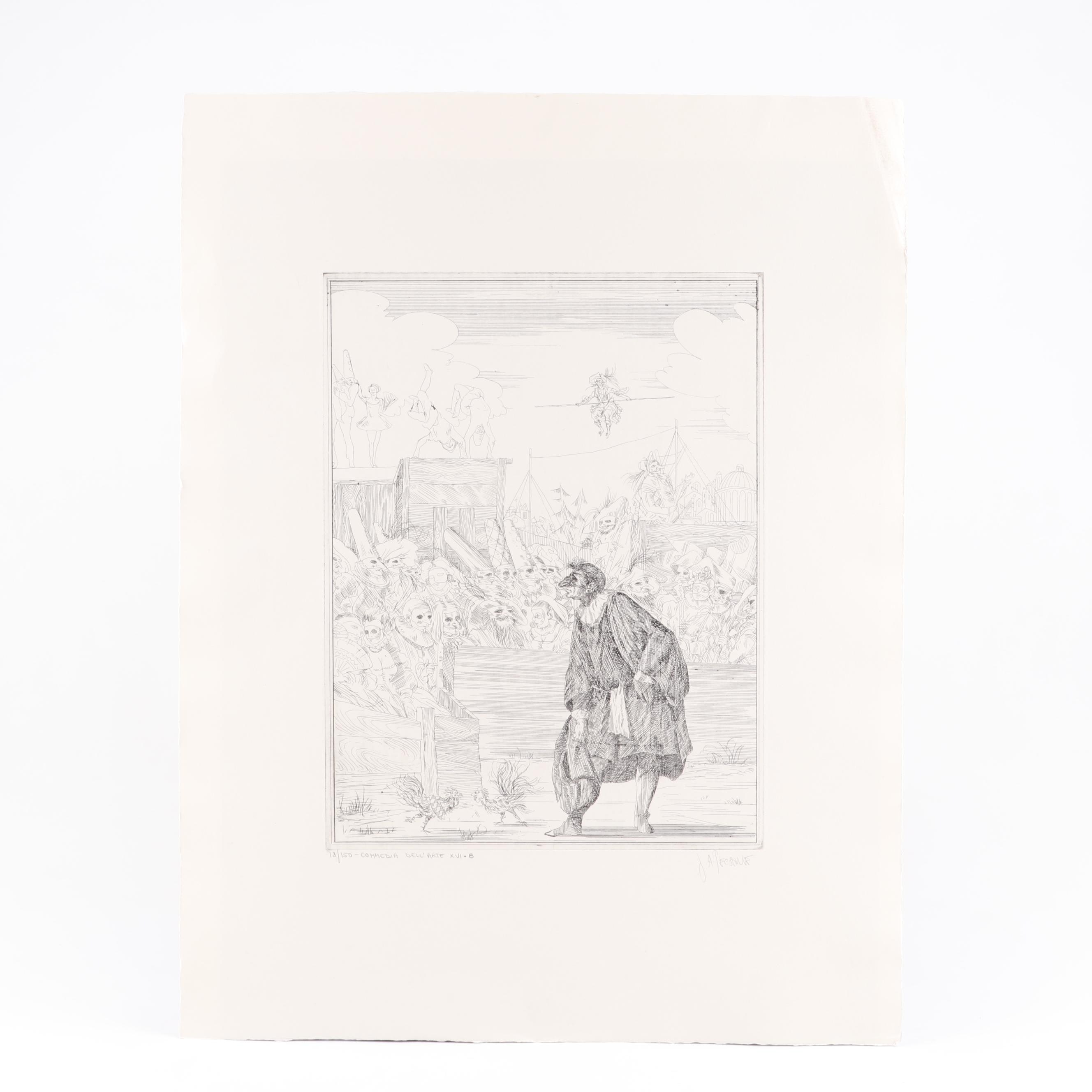 "Joe A. Pecsenke Etching ""Commedia Dell'Arte VXI-B"""