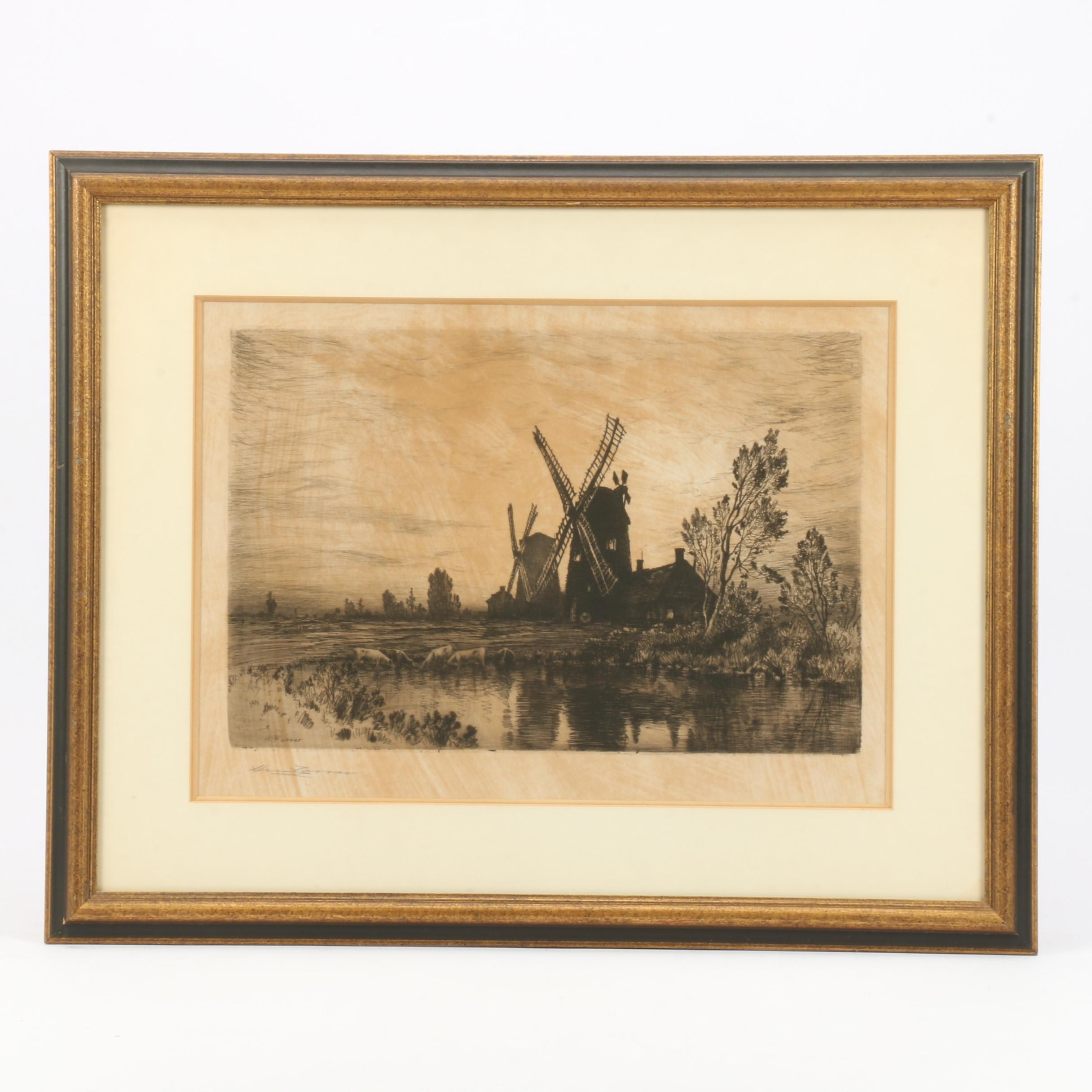 Restrike Etching after Henry Farrer of Pastoral Scene with Windmill