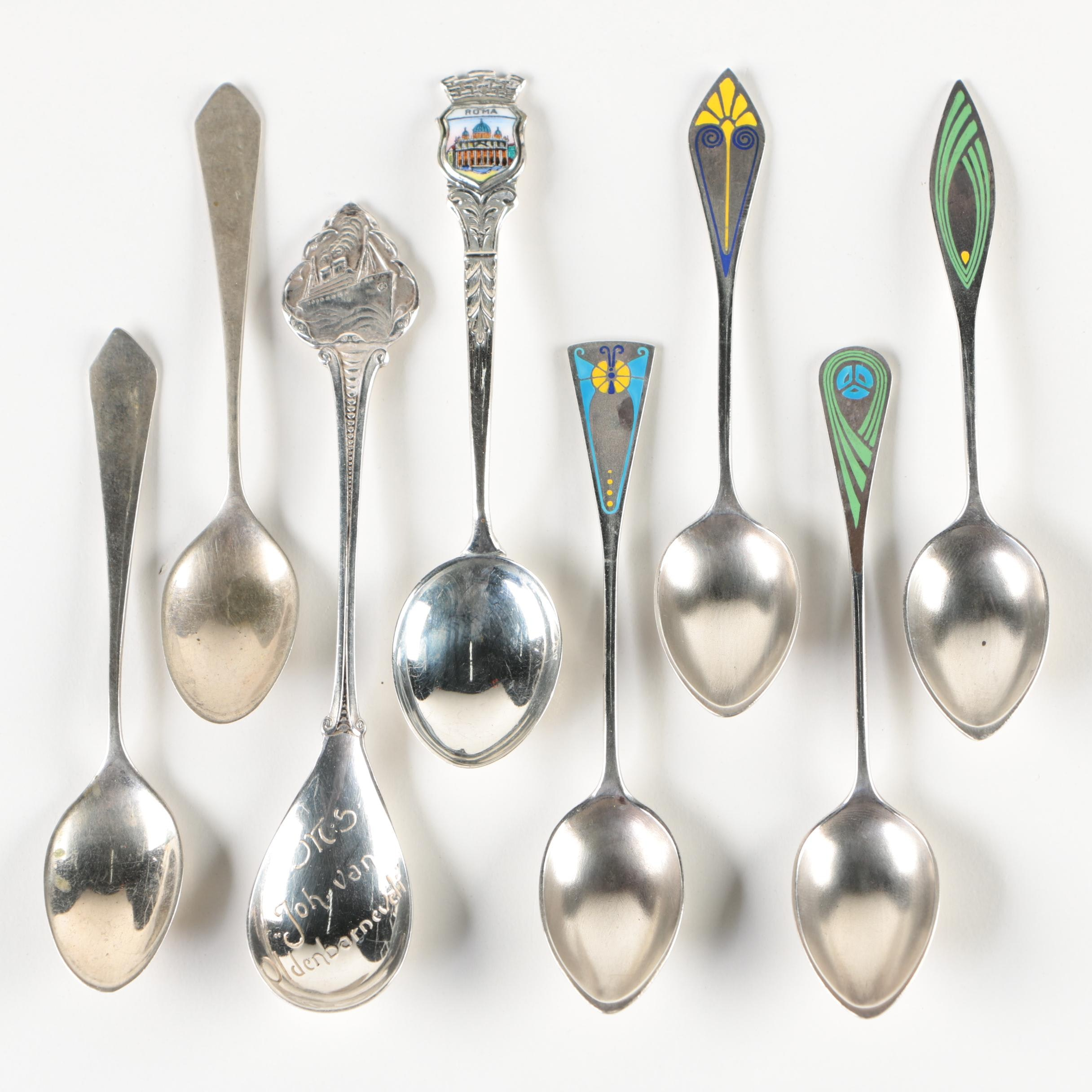"Hooijkaas ""MS Johan Van Oldenbarnevelt"" Spoon with Other Silver Souvenir Spoons"