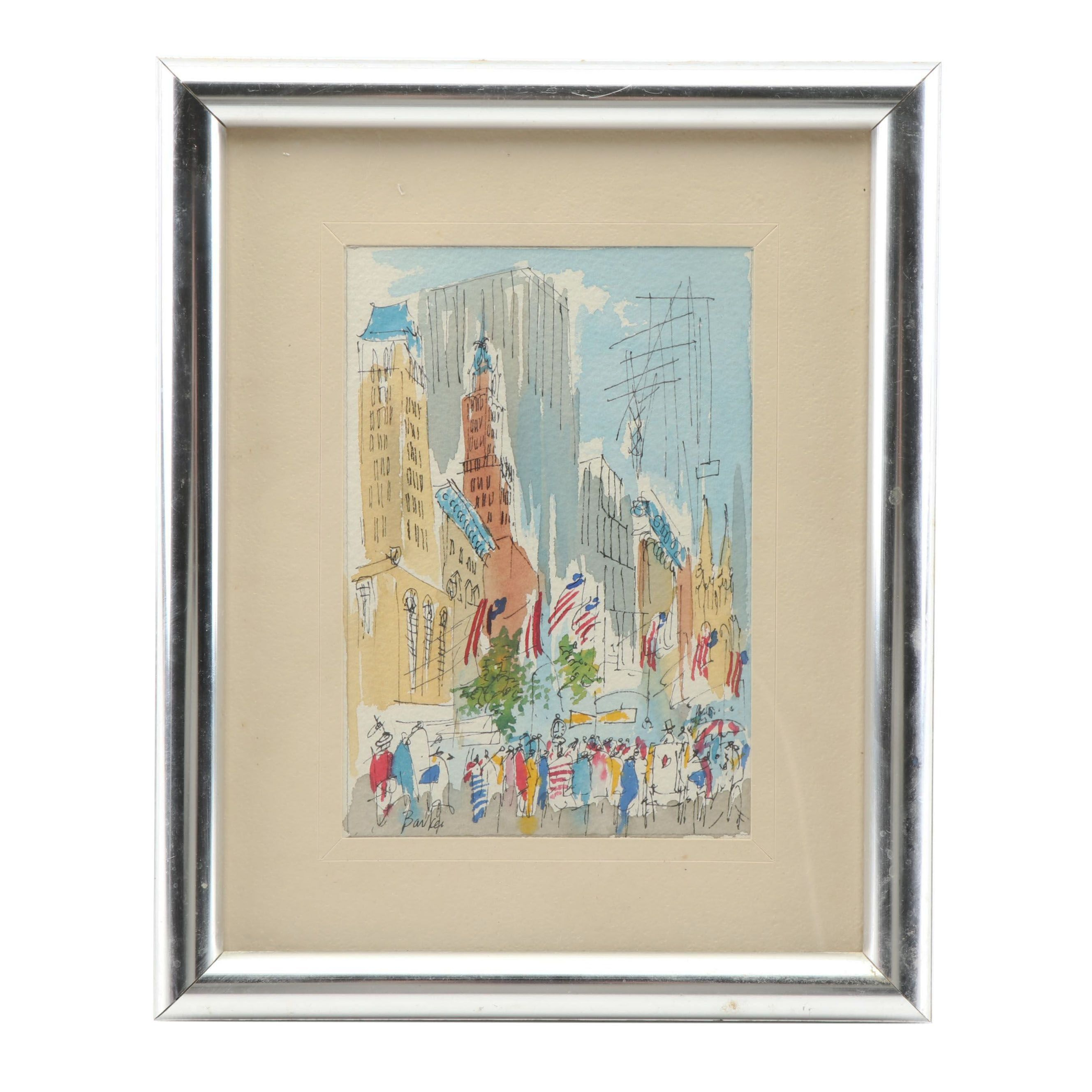 Barker Cityscape Watercolor Painting