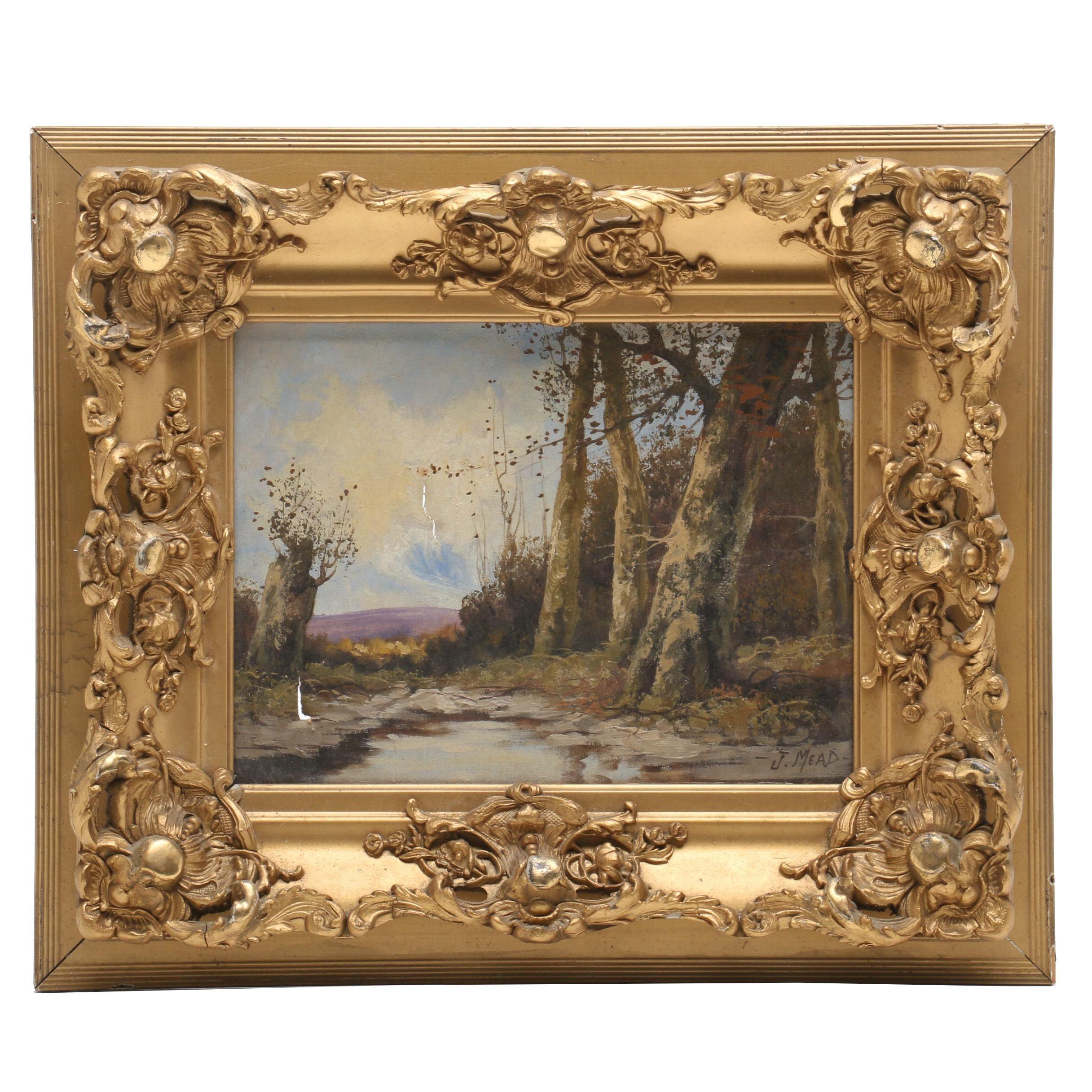 J. Mead 19th Century Oil Painting, Landscape
