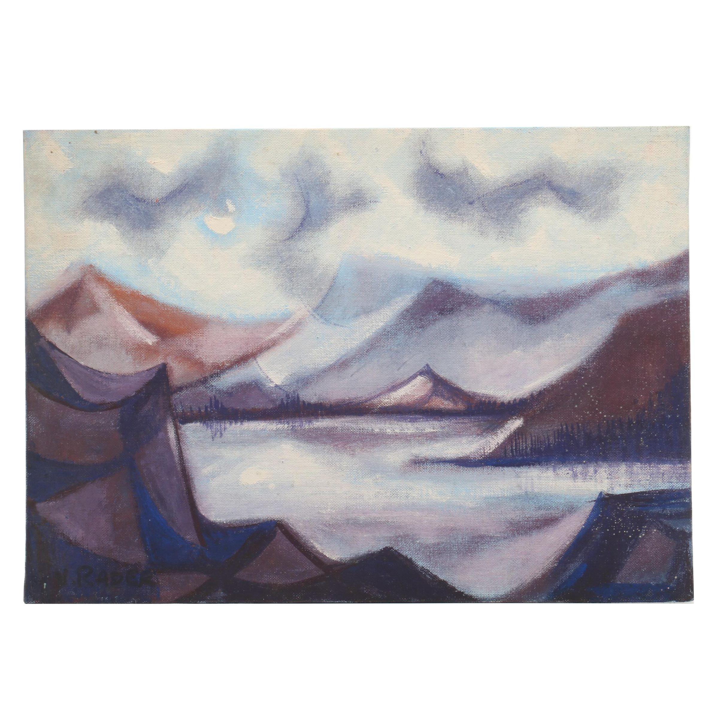 V. Rader Surrealist Style Landscape Oil Painting