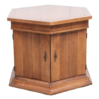 Walnut Laminate Hexagonal Side Table Cabinet, Late 20th Century - Online Furniture Auctions Vintage Furniture Auction Antique