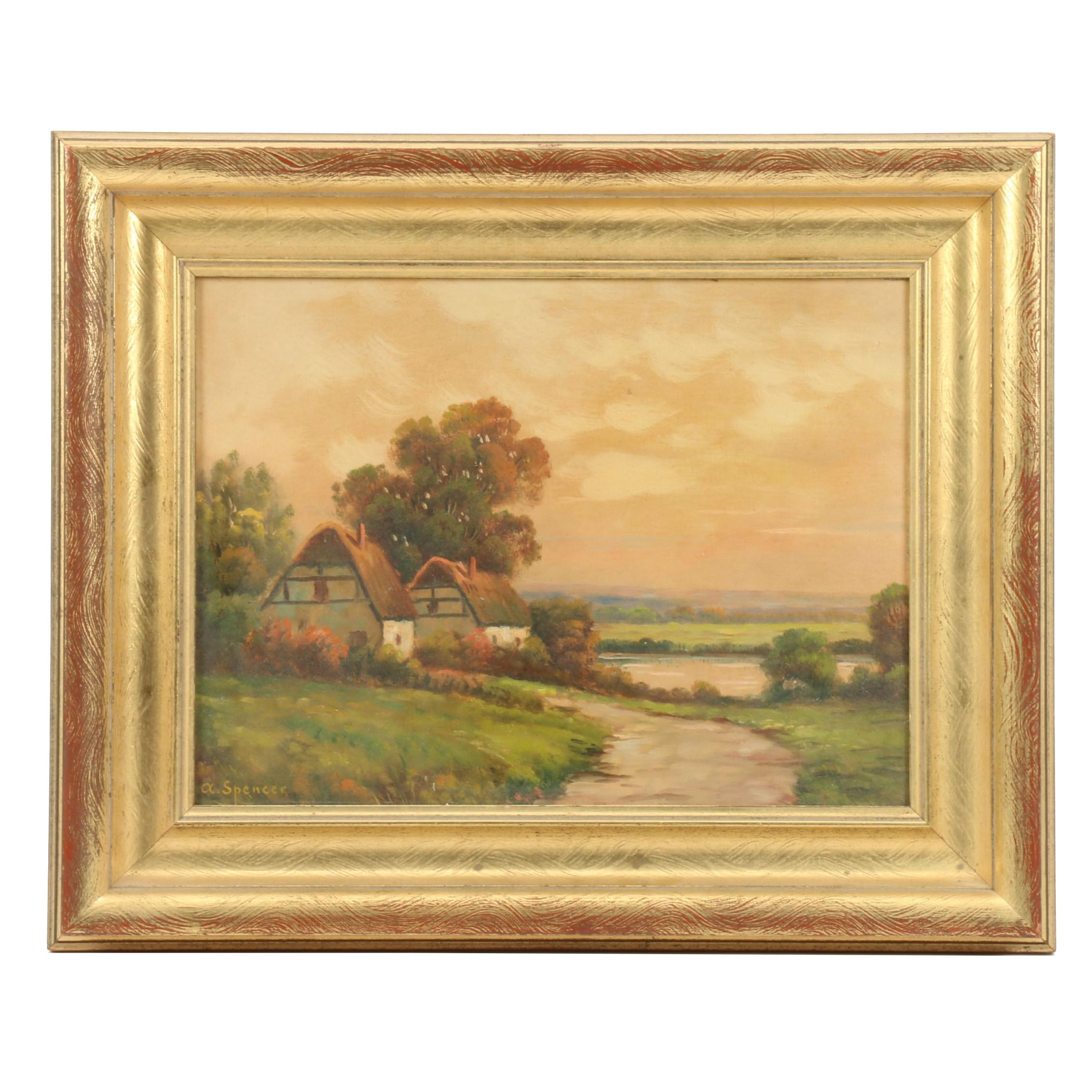 "Augustus Spencer Oil Painting ""Birmingham Cottages"""