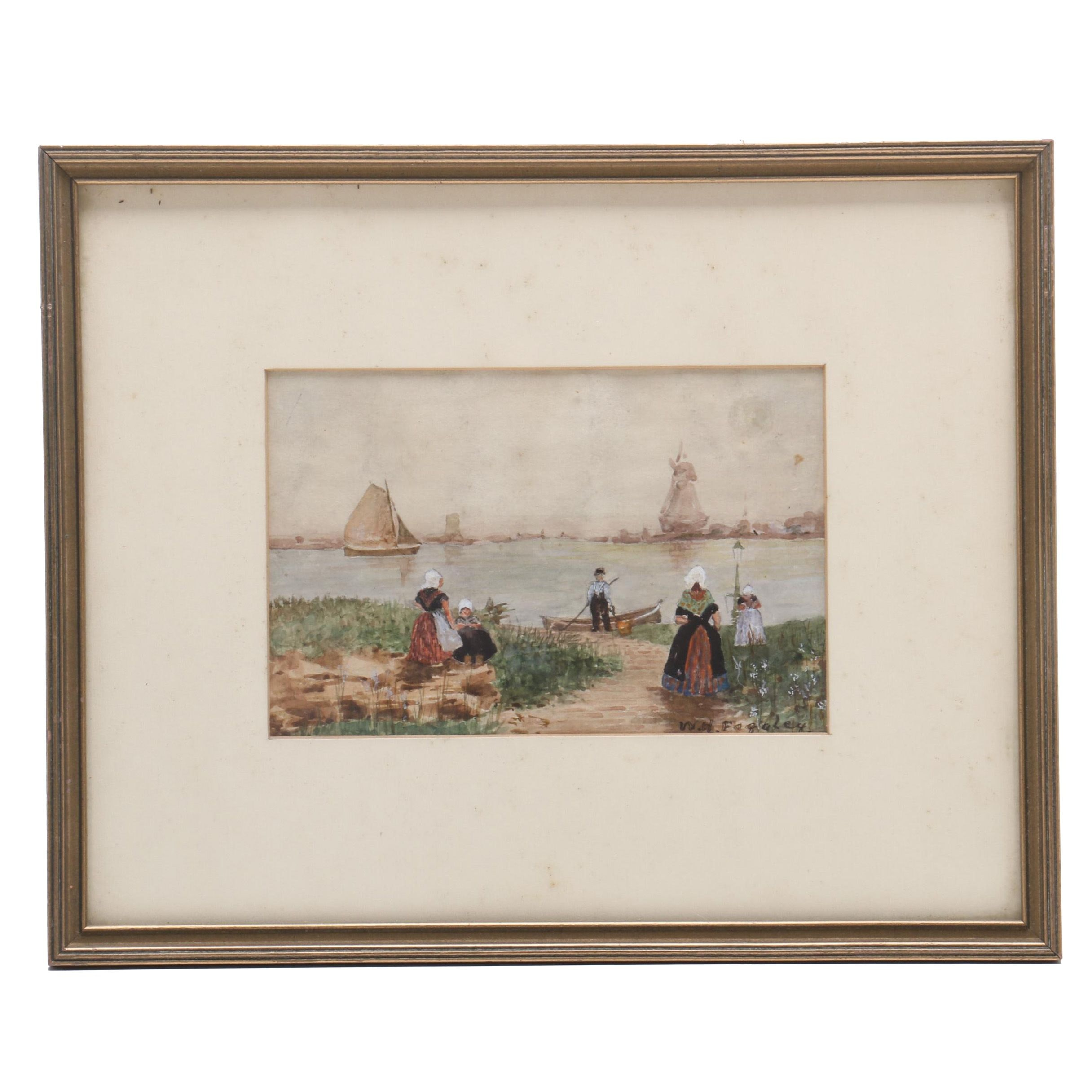 Watercolor Painting of Dutch Scene with Windmill