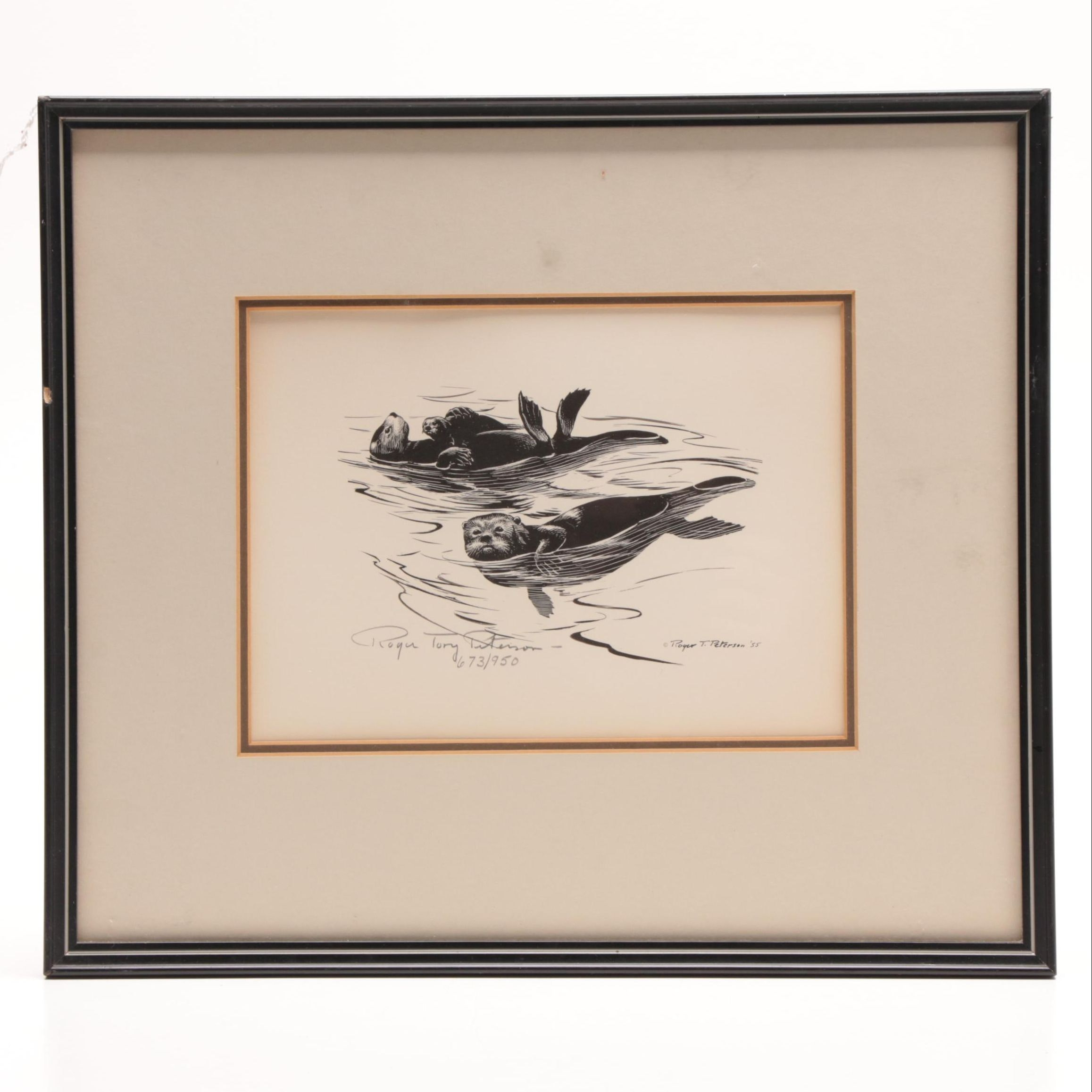"Roger Tory Peterson Limited Edition Lithograph ""Sea Otters"""