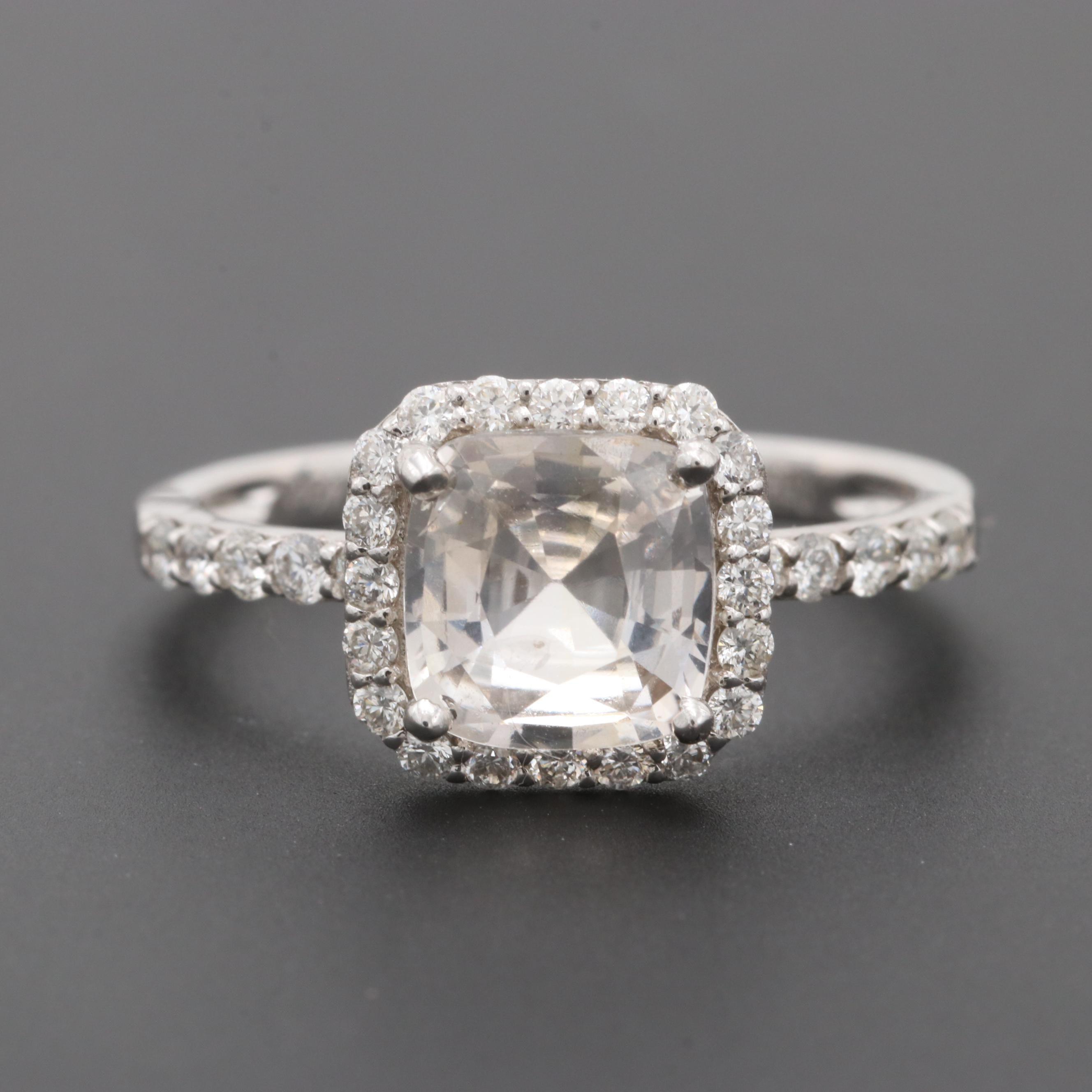 18K White Gold 1.91 CT Very Light Orange Yellow Sapphire and Diamond Ring