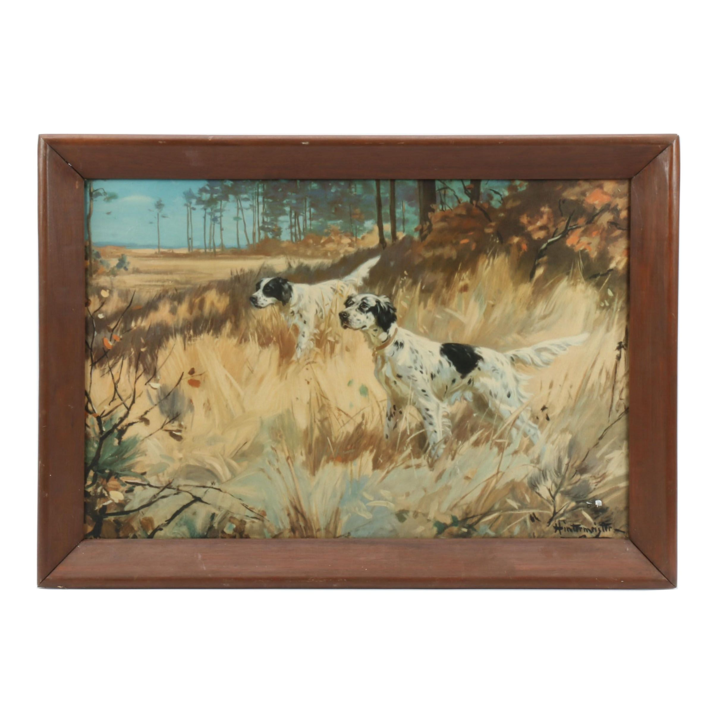 Henry Hintermeister Offset Lithograph featuring English Setter Hunting Dogs