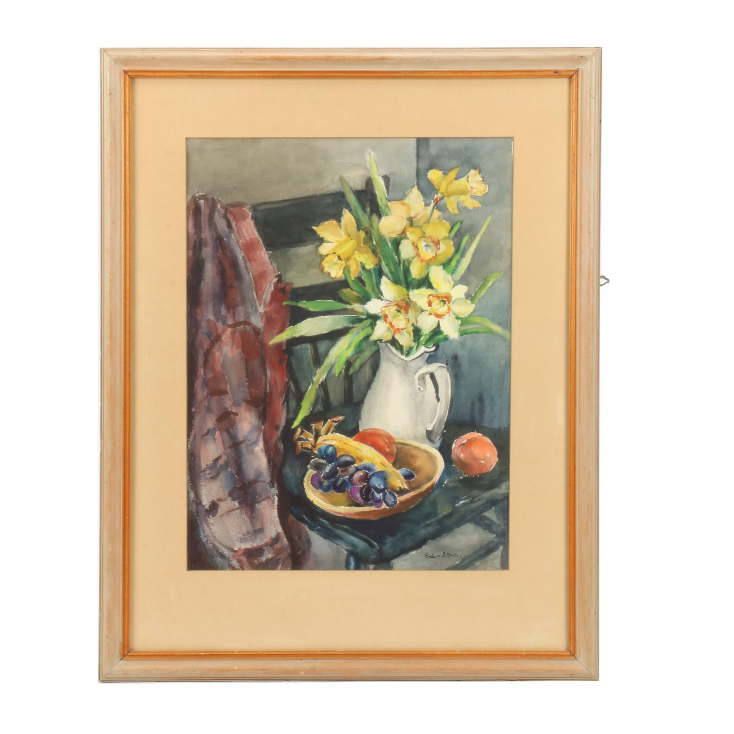 """Endean J. Smith Watercolor Painting """"Grandma's Pitcher"""""""