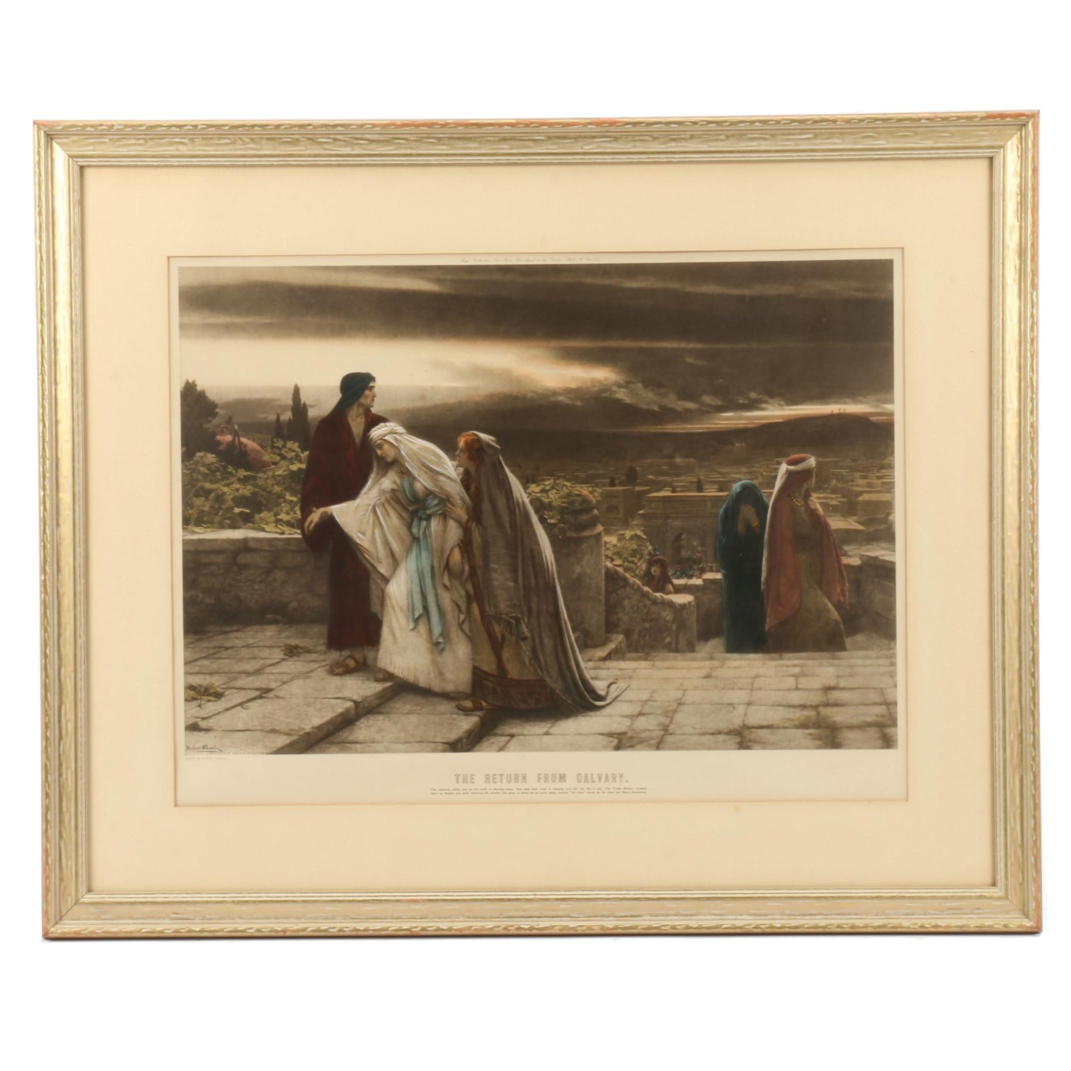 "Hand-colored Lithograph after Herber Schmalz ""The Return From Calvary"""