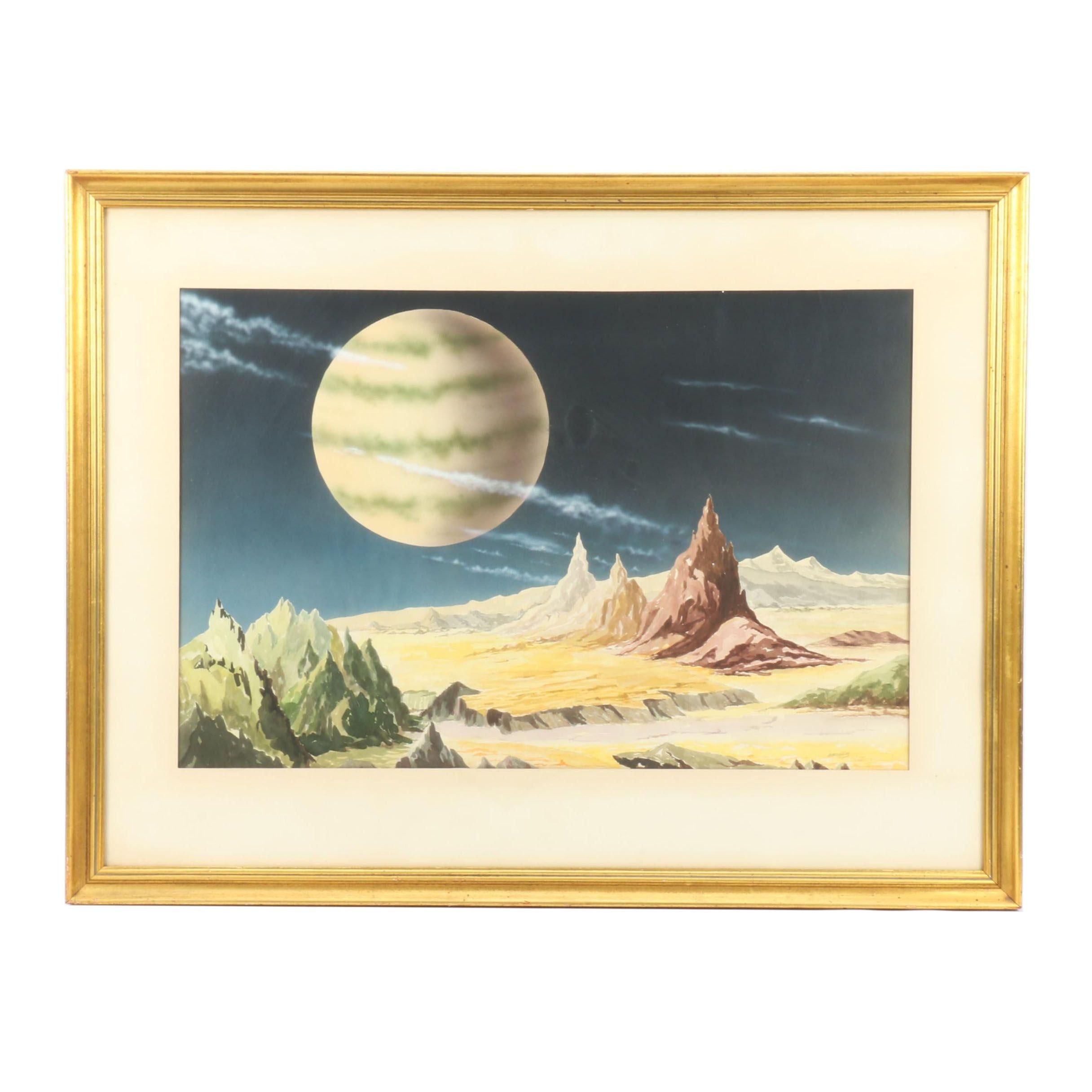 James Keller Watercolor Painting of Surreal Landscape