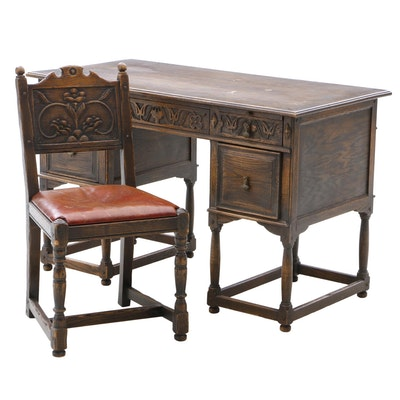 Early 1900s English Jacobean Revival Oak Desk and Chair - Online Furniture Auctions Vintage Furniture Auction Antique