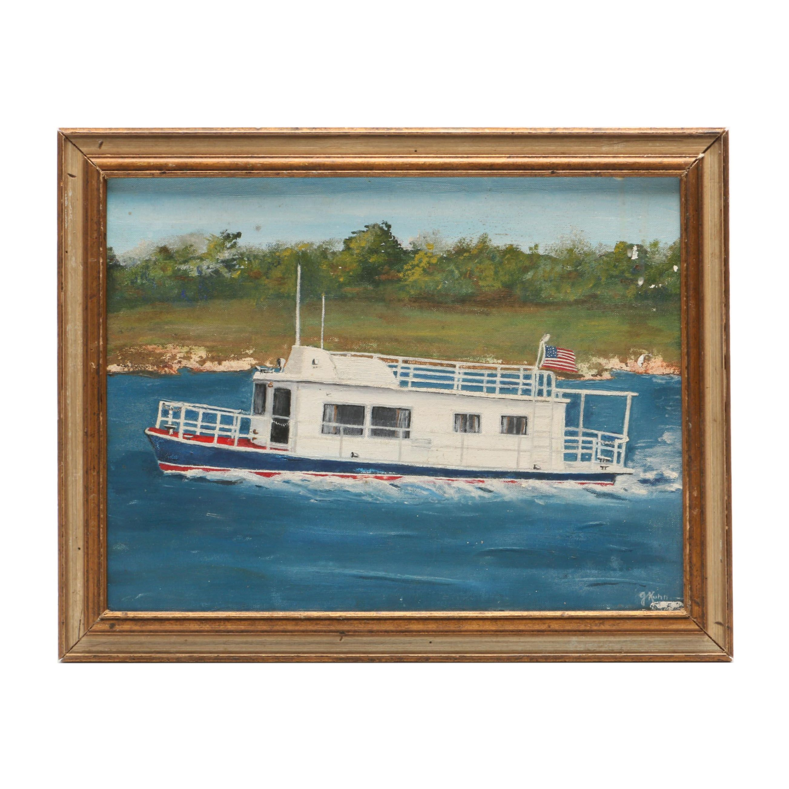 G. Kuhn Oil Painting of Riverboat