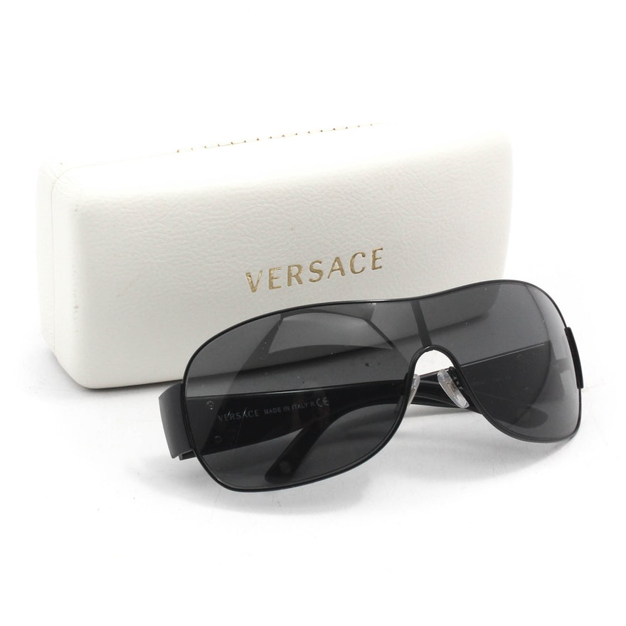 2fb33c15c50b0 Versace 2101 Black Shield Wrap Sunglasses   EBTH