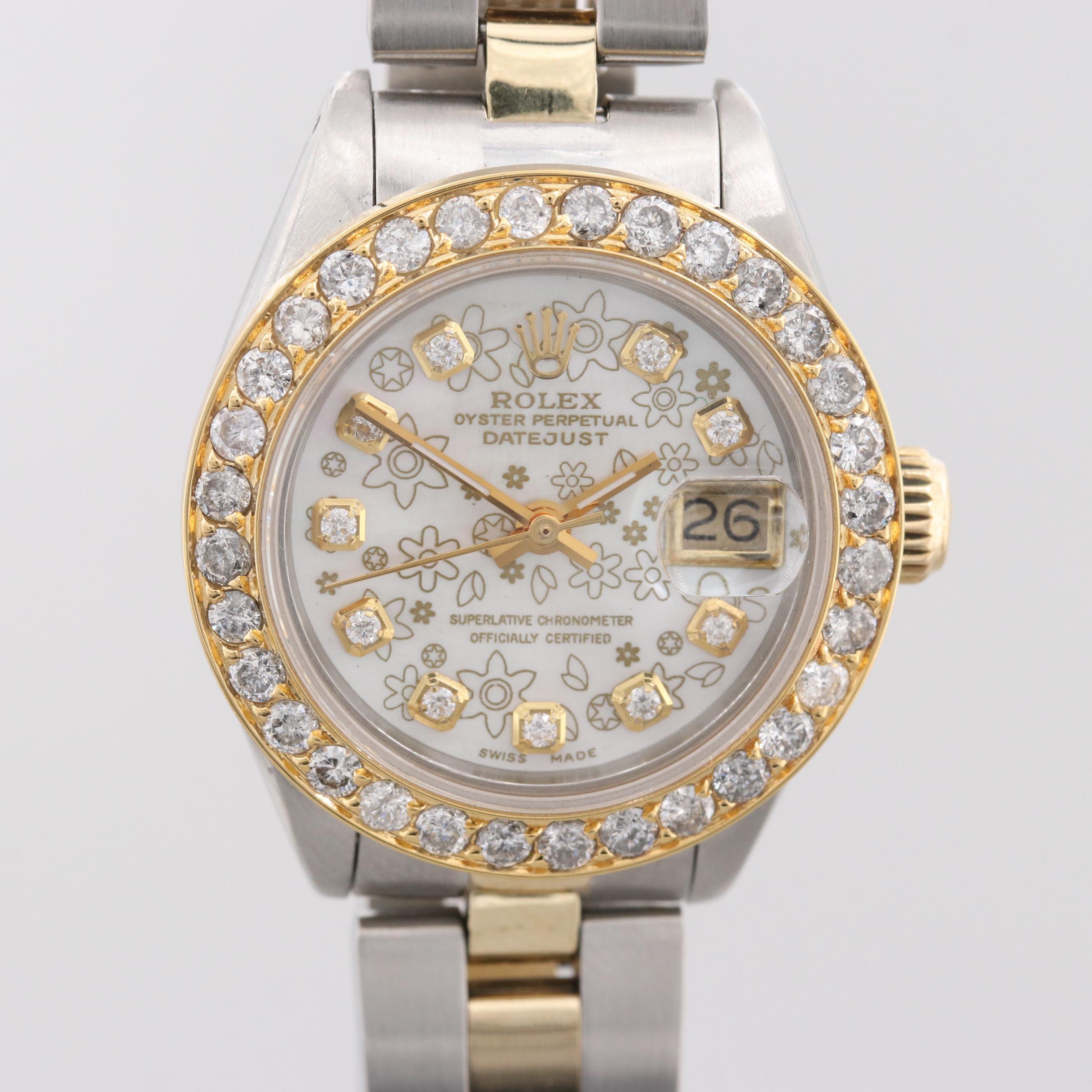 Rolex Datejust 18K Yellow Gold 1.28 CTW Diamond Wristwatch, 1978