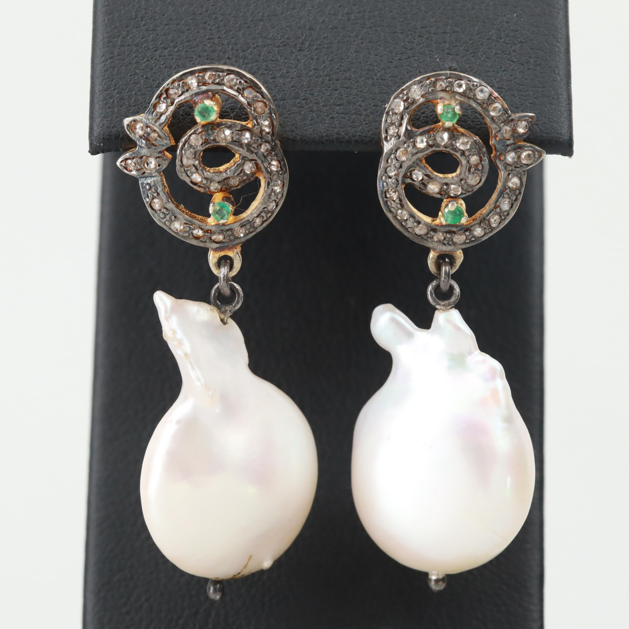 Gold Wash on Sterling Silver Diamond and Cultured Pearl Earrings
