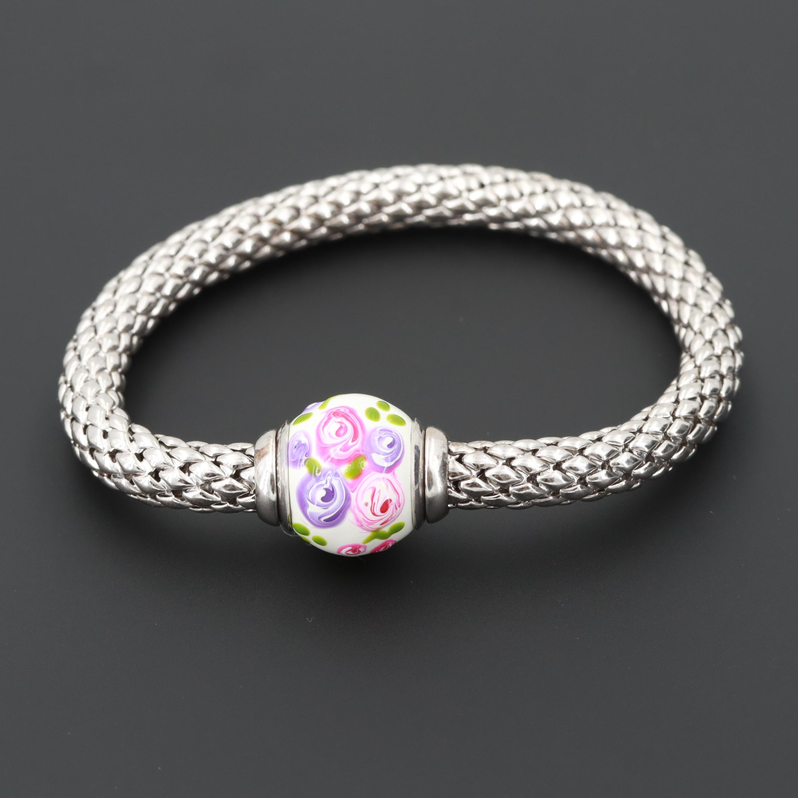 Sterling Silver Painted Glass Bracelet