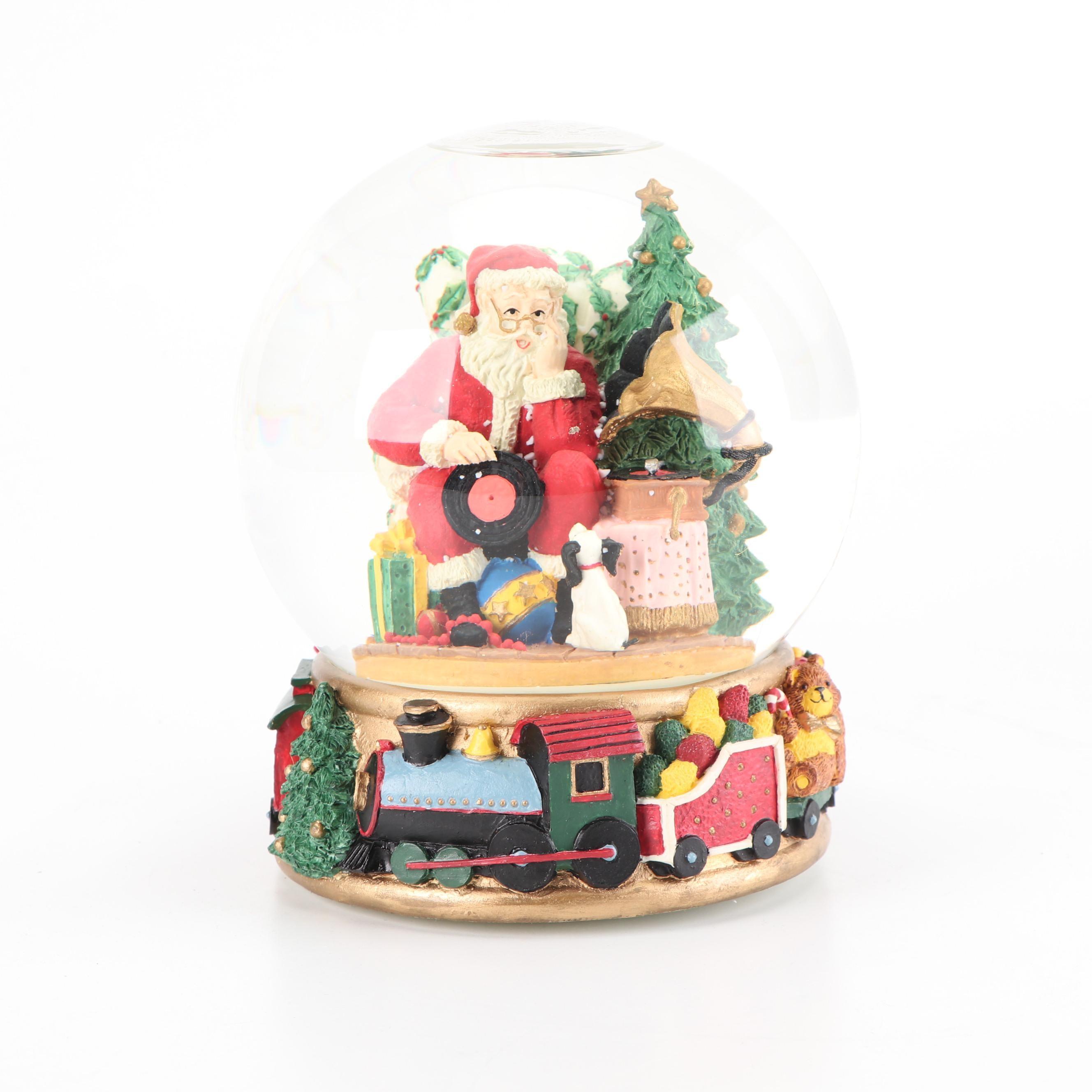 "Fitz & Floyd ""Santa's List"" Hand-Painted Resin and Glass Snow Globe"