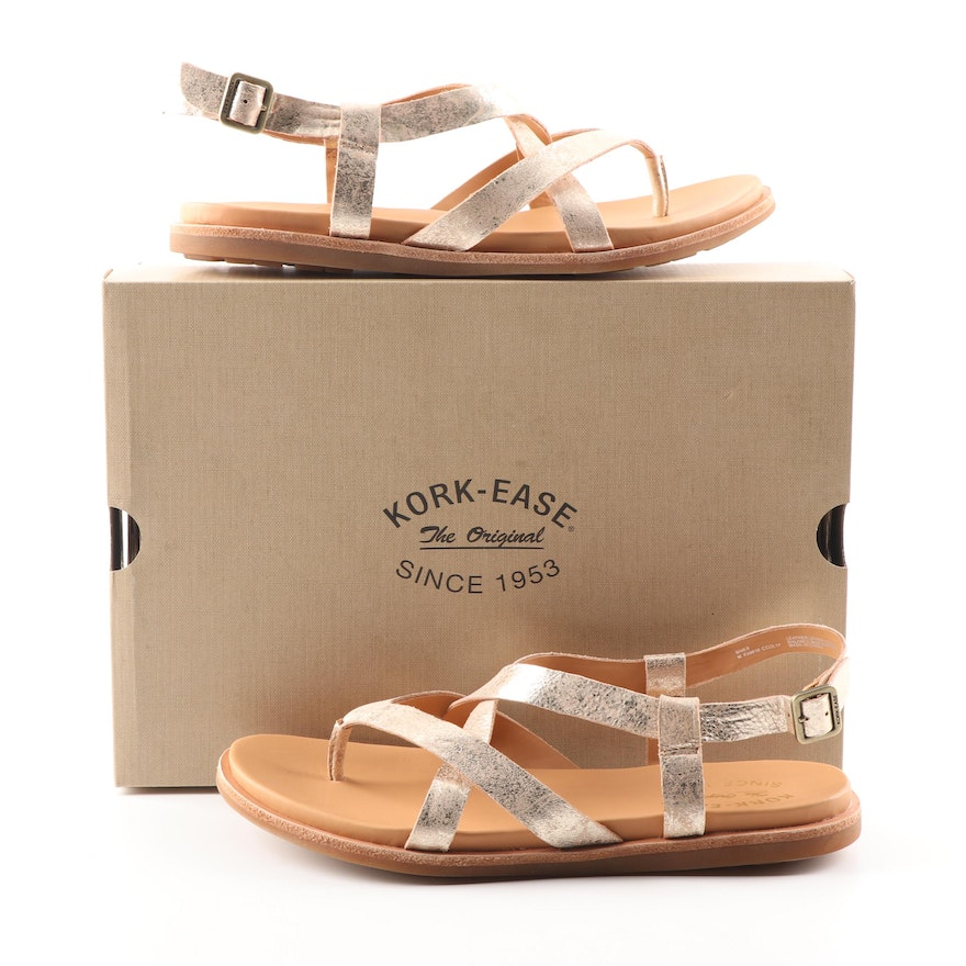 d3e7a53ee5bf Kork-Ease Yarbrough Gold Leather Sandals   EBTH
