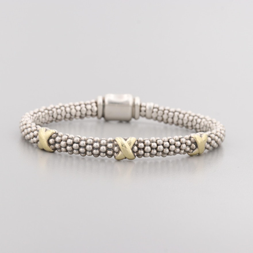 22b87fb3cf5 Caviar By Lagos Sterling Silver Bracelet With 18K Yellow Gold Accents ...