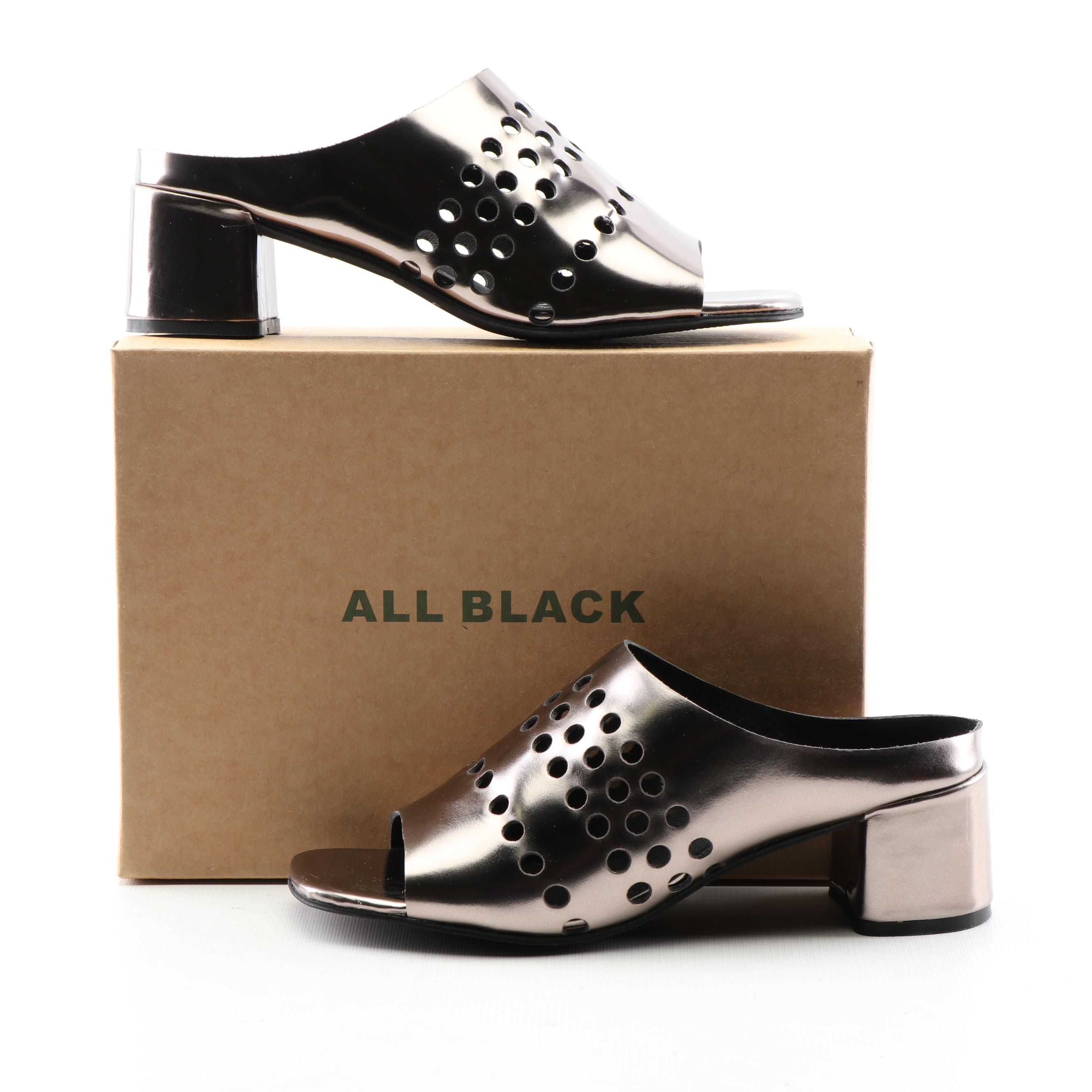 All Black Holey Block Pewter Leather Mules