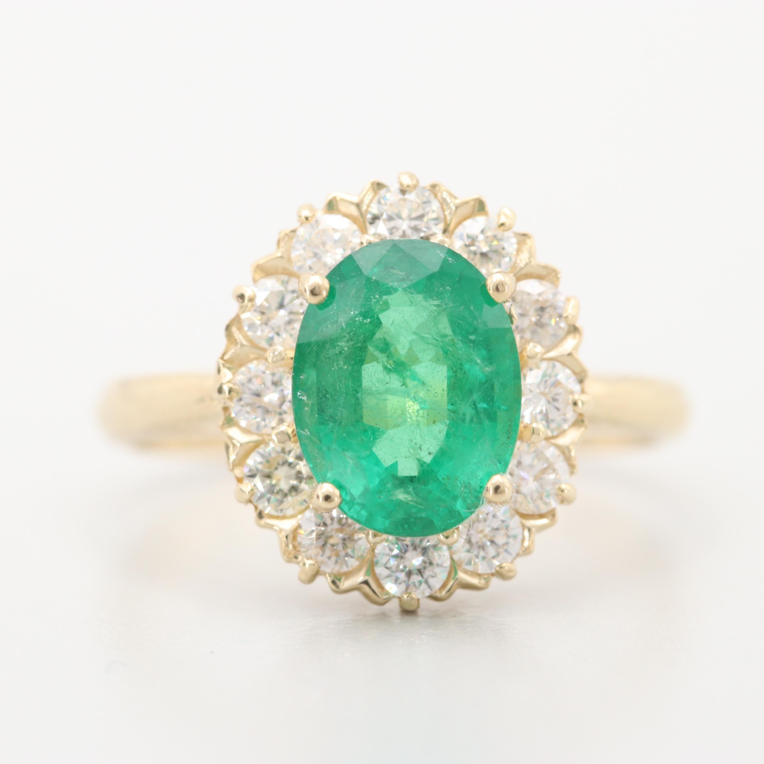 14K Yellow Gold 1.71 CT Emerald and Diamond Ring