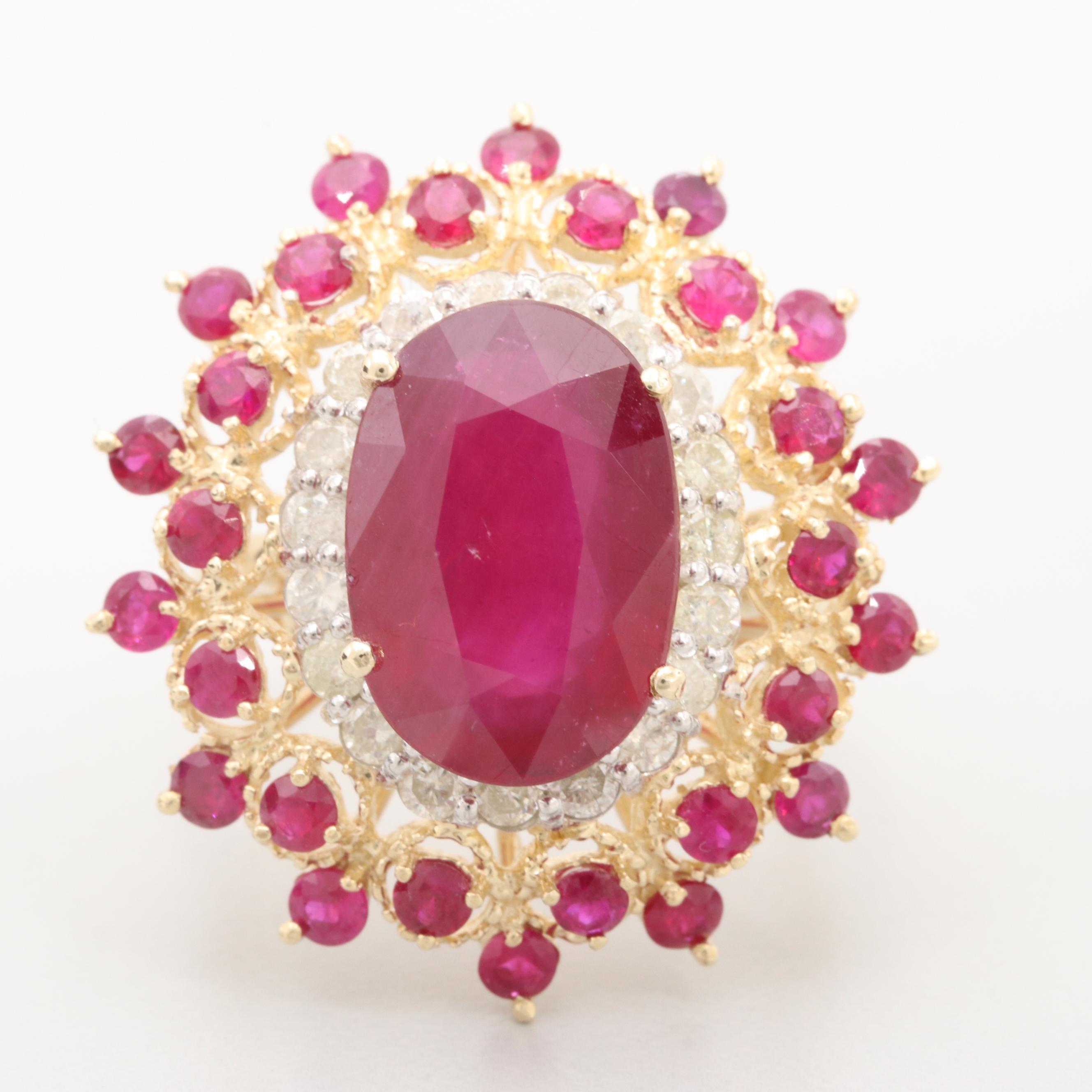 14K Yellow Gold Glass Filled Corundum, Ruby and Diamond Ring