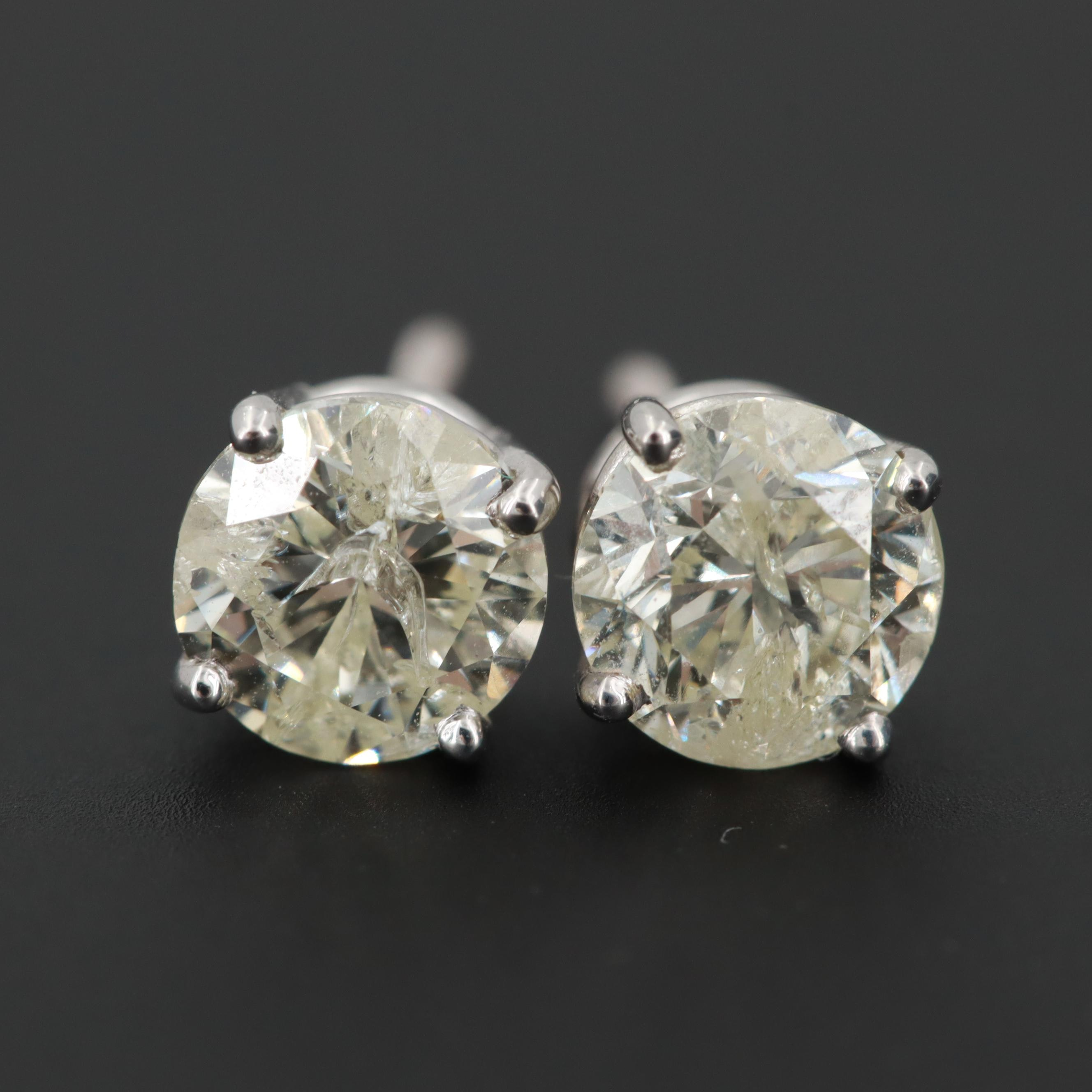 14K White Gold 1.24 CTW Diamond Earrings