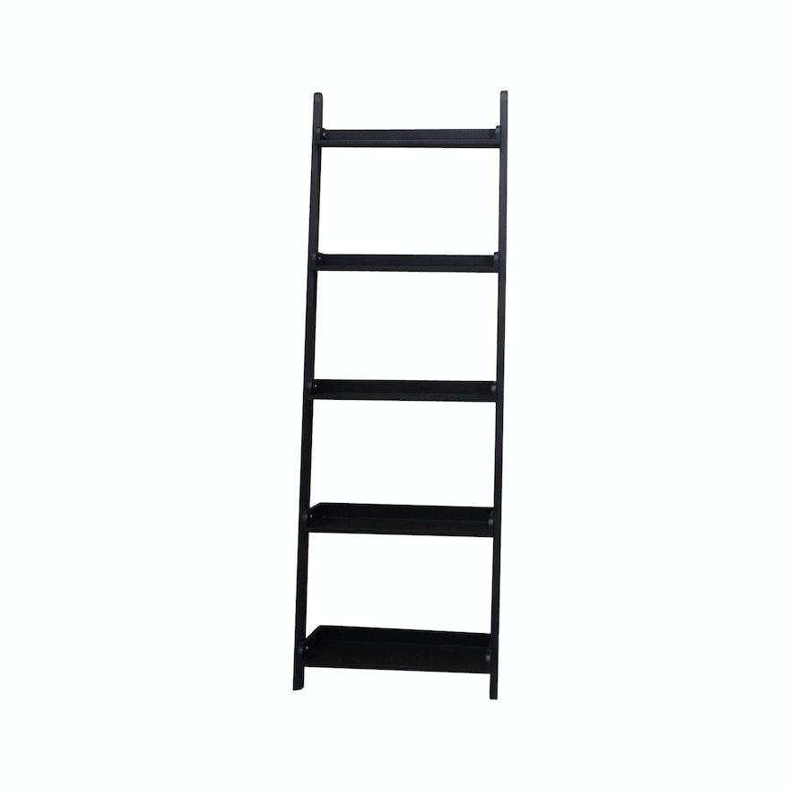 Black Leaning Ladder Bookshelf