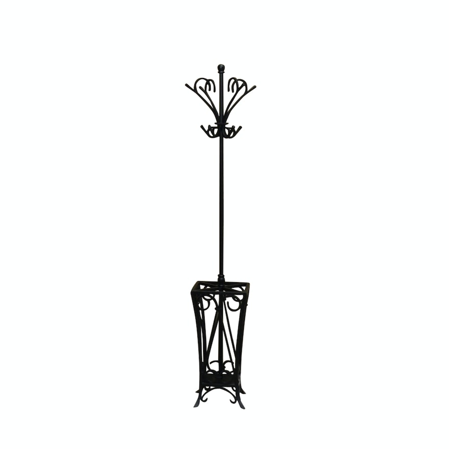 Pottery Barn Wrought Iron Coat Tree With Umbrella Stand Ebth