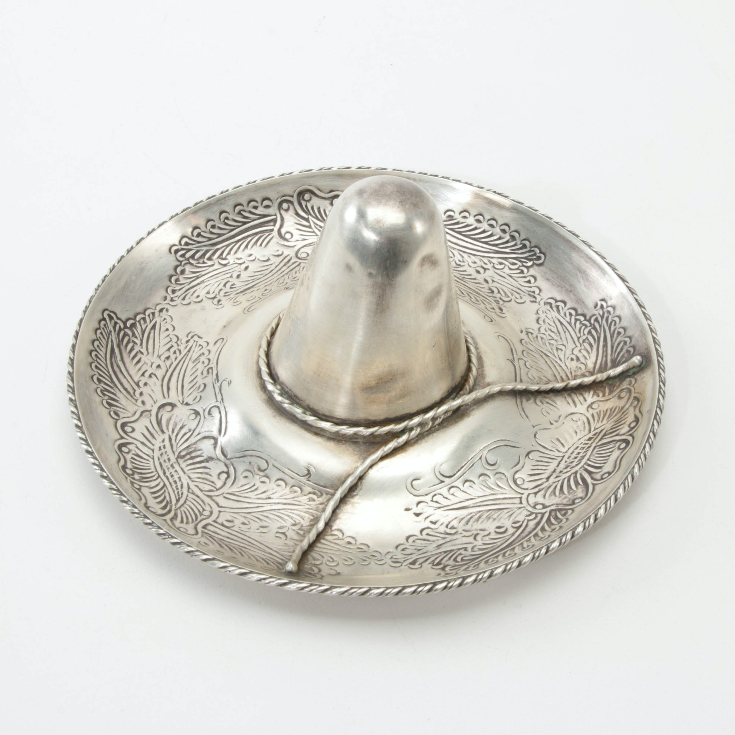 Mexican Sterling Silver Sombrero Figurine, Mid/Late 20th Century