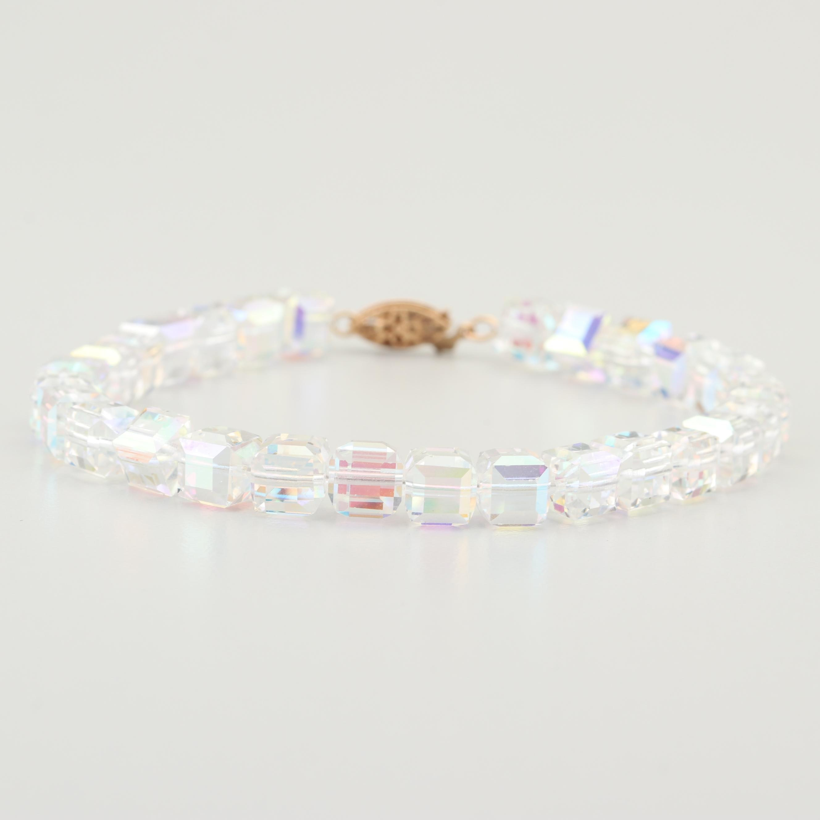 Faceted Crystal Bracelet with 14K Yellow Gold Clasp