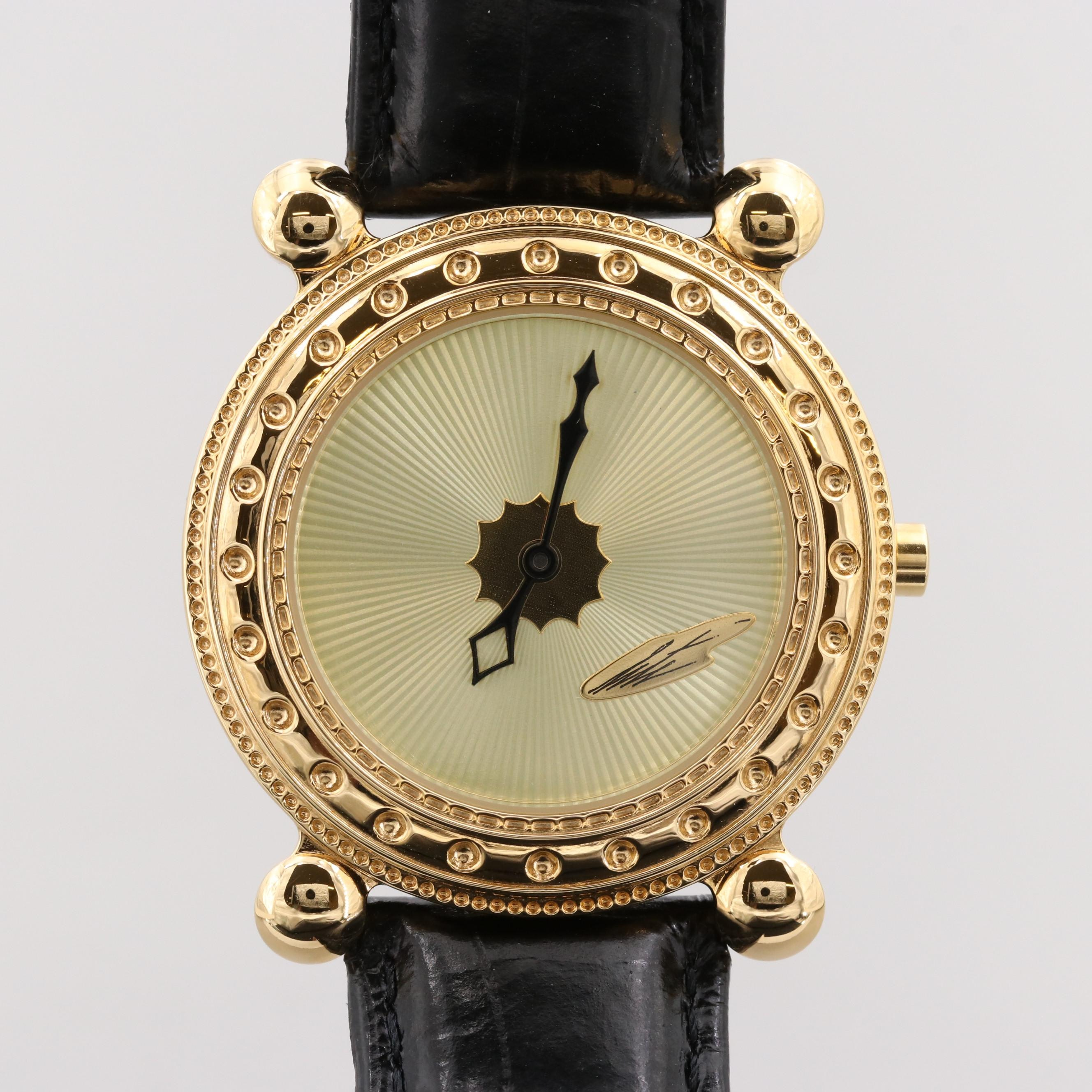 Erté Gold Plated Stainless Steel Wristwatch With Leather Band