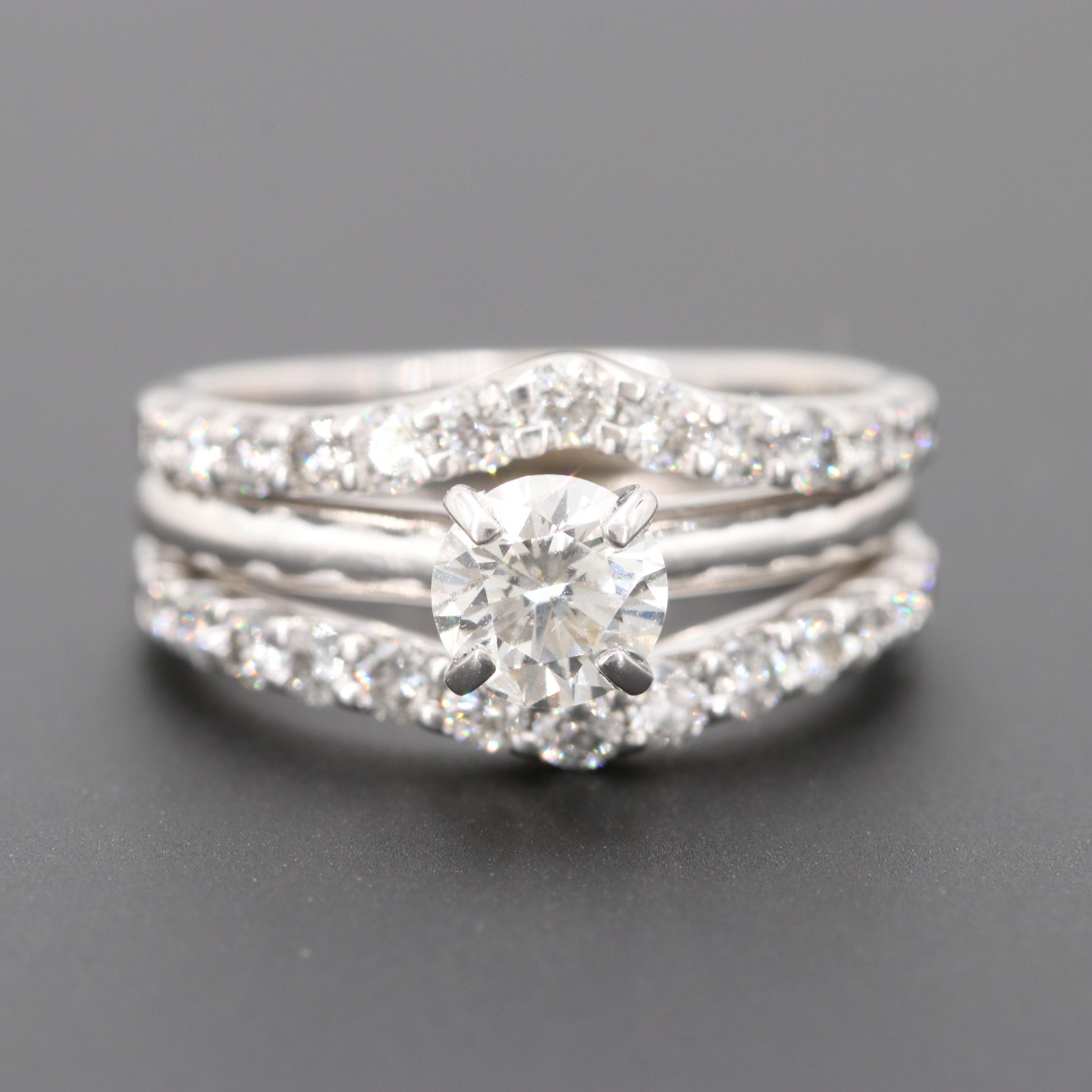 14K White Gold 1.61 CTW Diamond Ring