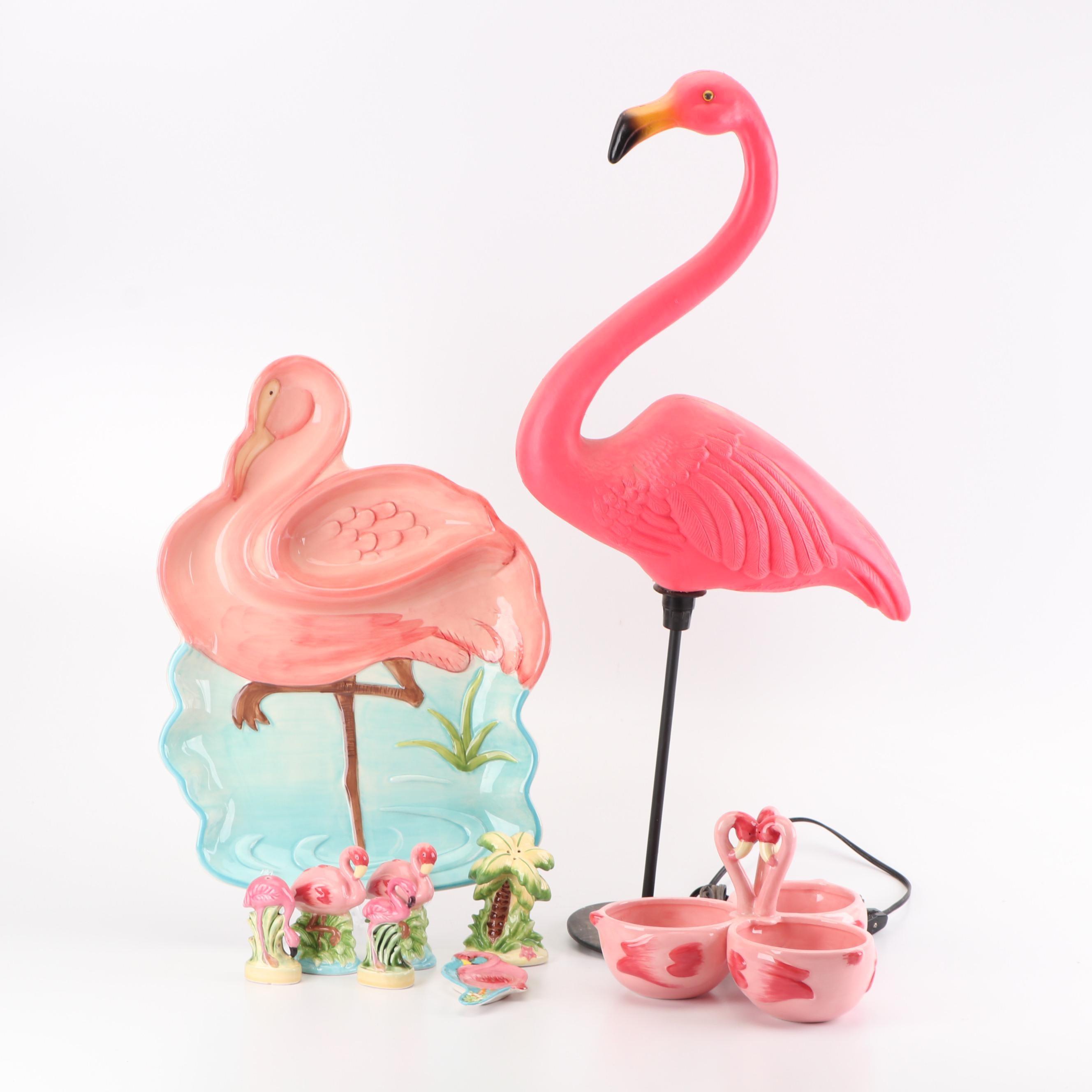 Union Products, Inc. Illuminated Lawn Flamingo with Ceramic Flamingo Tableware