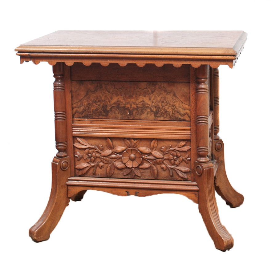 Victorian Ash Coffee Table: Victorian Carved Walnut Table With Floral Panels