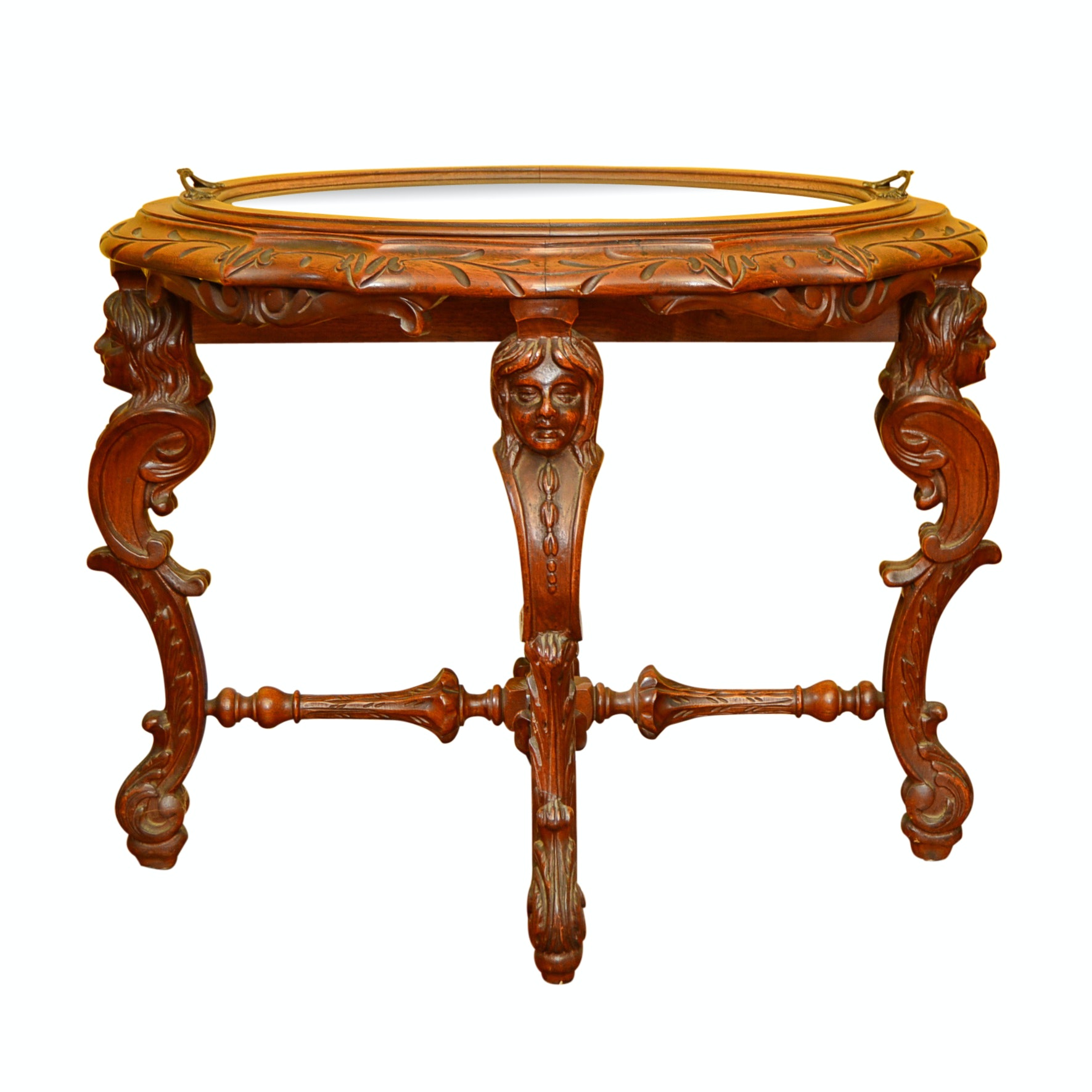Vintage Neoclassic Style Accent Table with Caryatid Legs and Carved Top