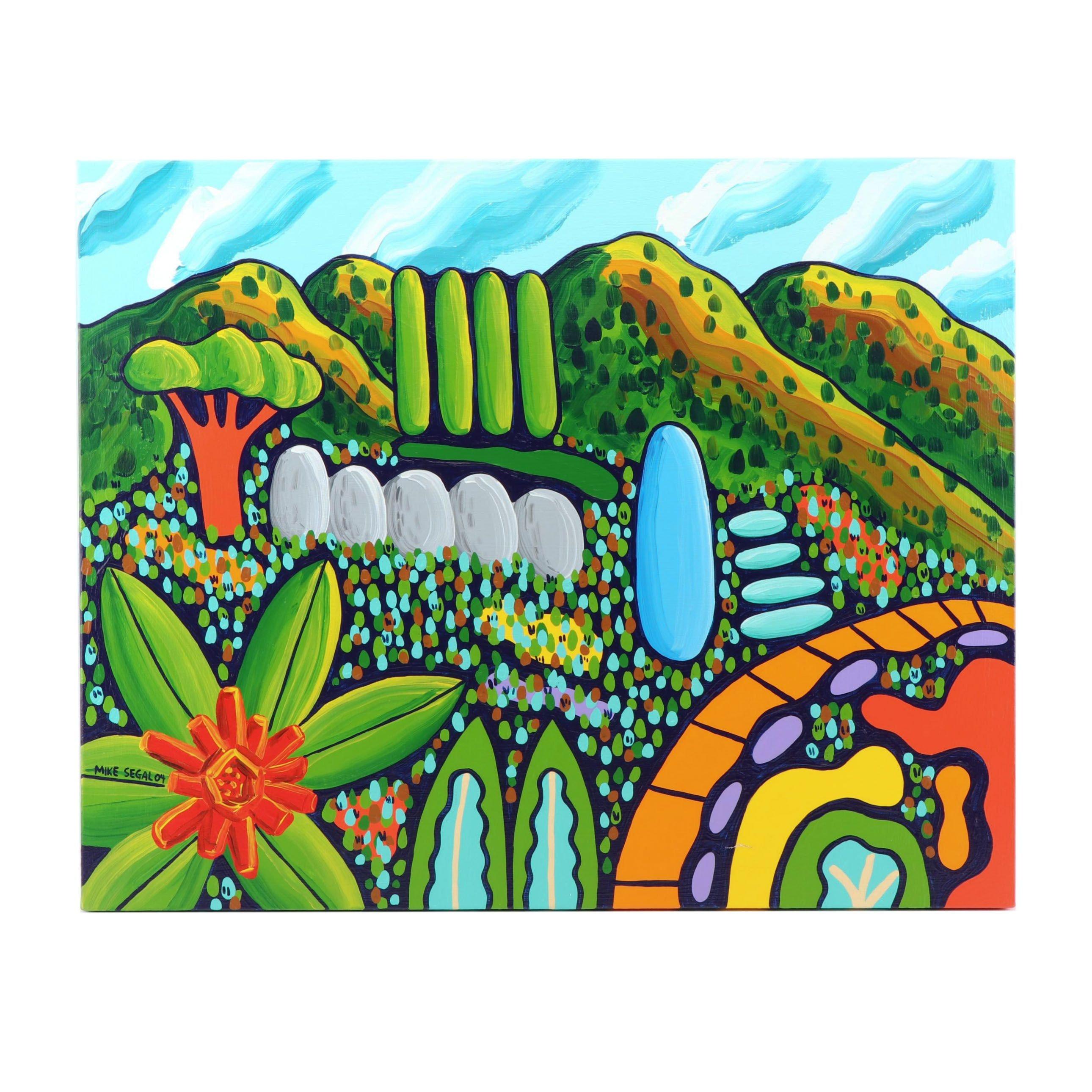 "Mike Segal Landscape Oil Painting ""Mountain Garden"""